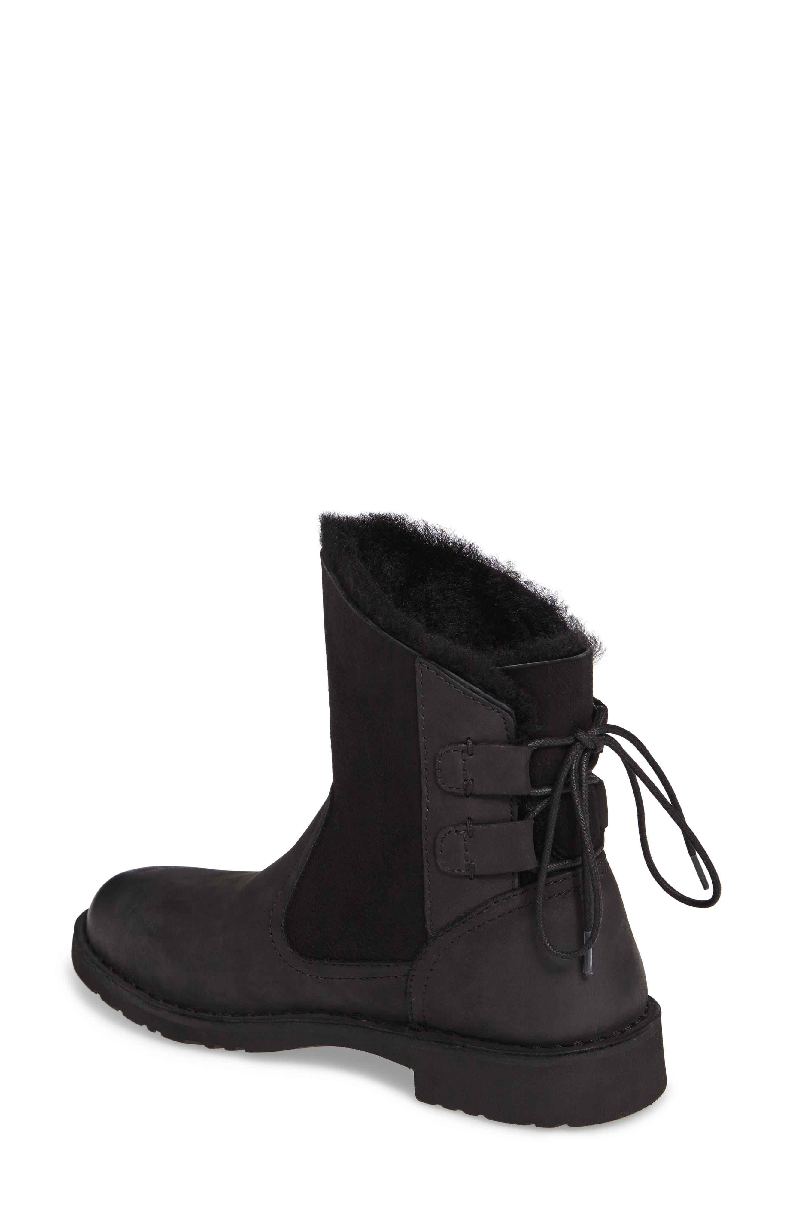 Naiyah Lace-Back Genuine Shearling Boot,                             Alternate thumbnail 2, color,                             BLACK/ BLACK NUBUCK LEATHER