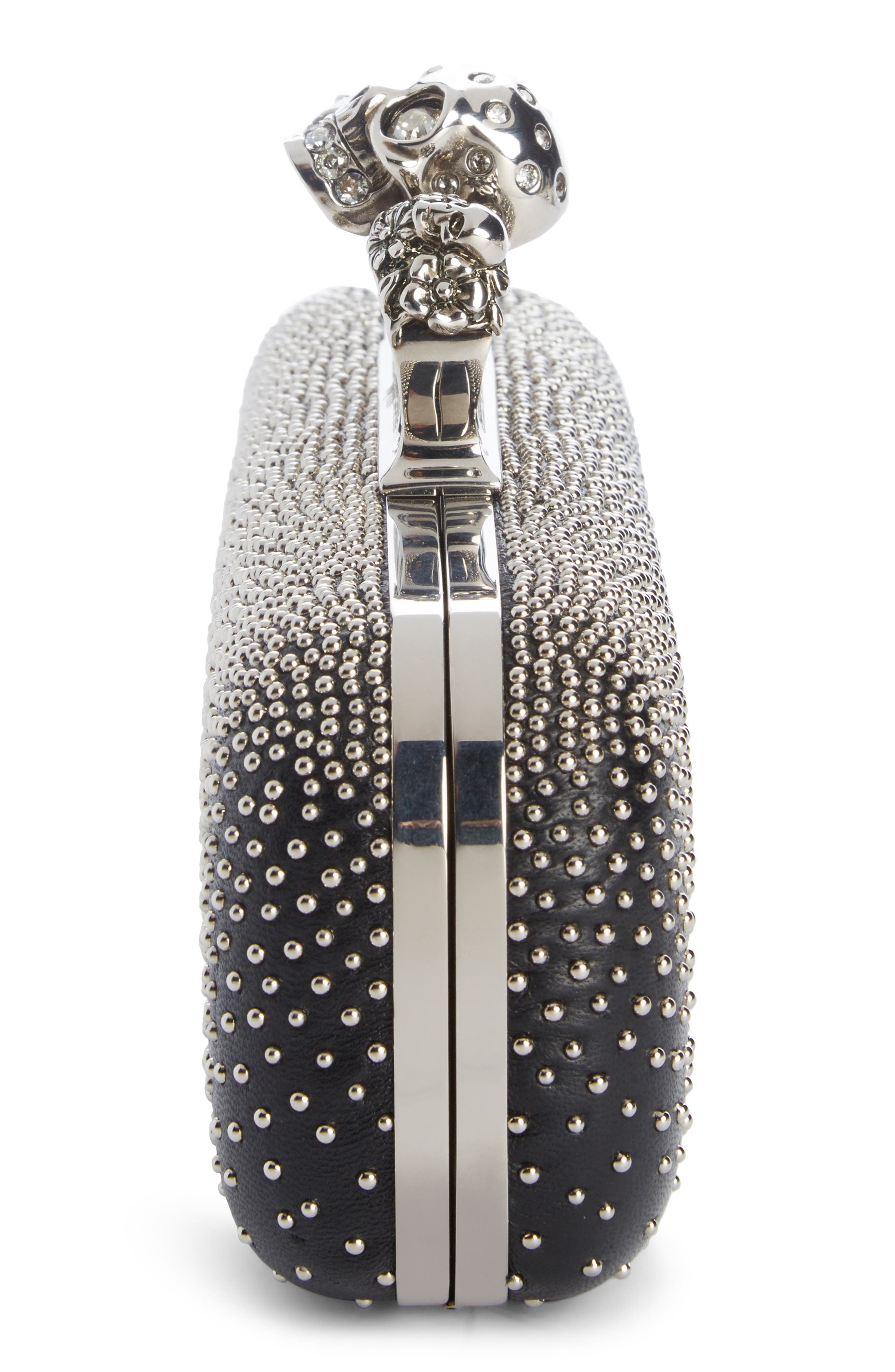 Studded Lambskin Leather Knuckle Clutch,                             Alternate thumbnail 3, color,                             BLACK