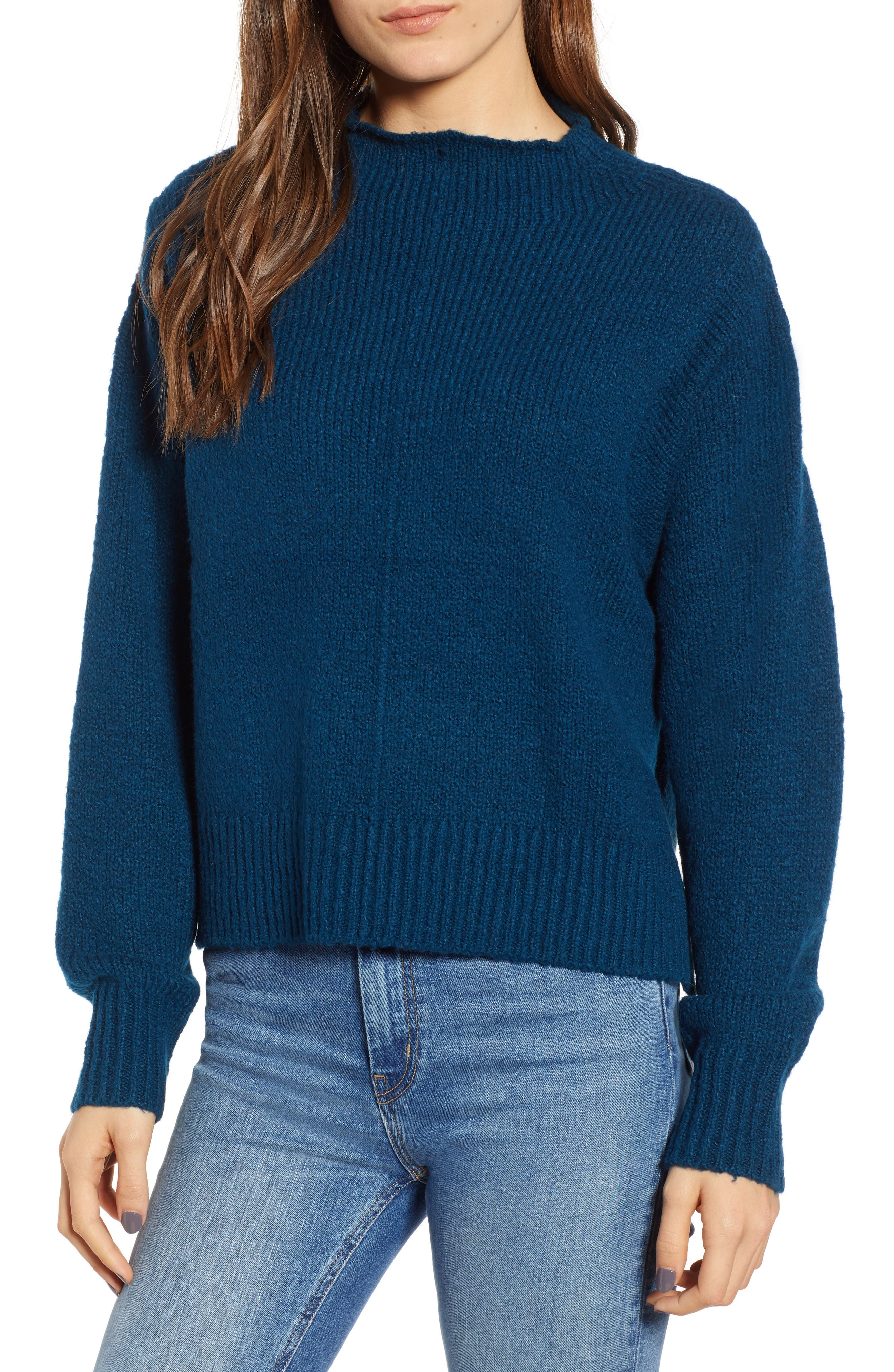 Fuzzy Side Slit Sweater,                             Main thumbnail 1, color,                             401