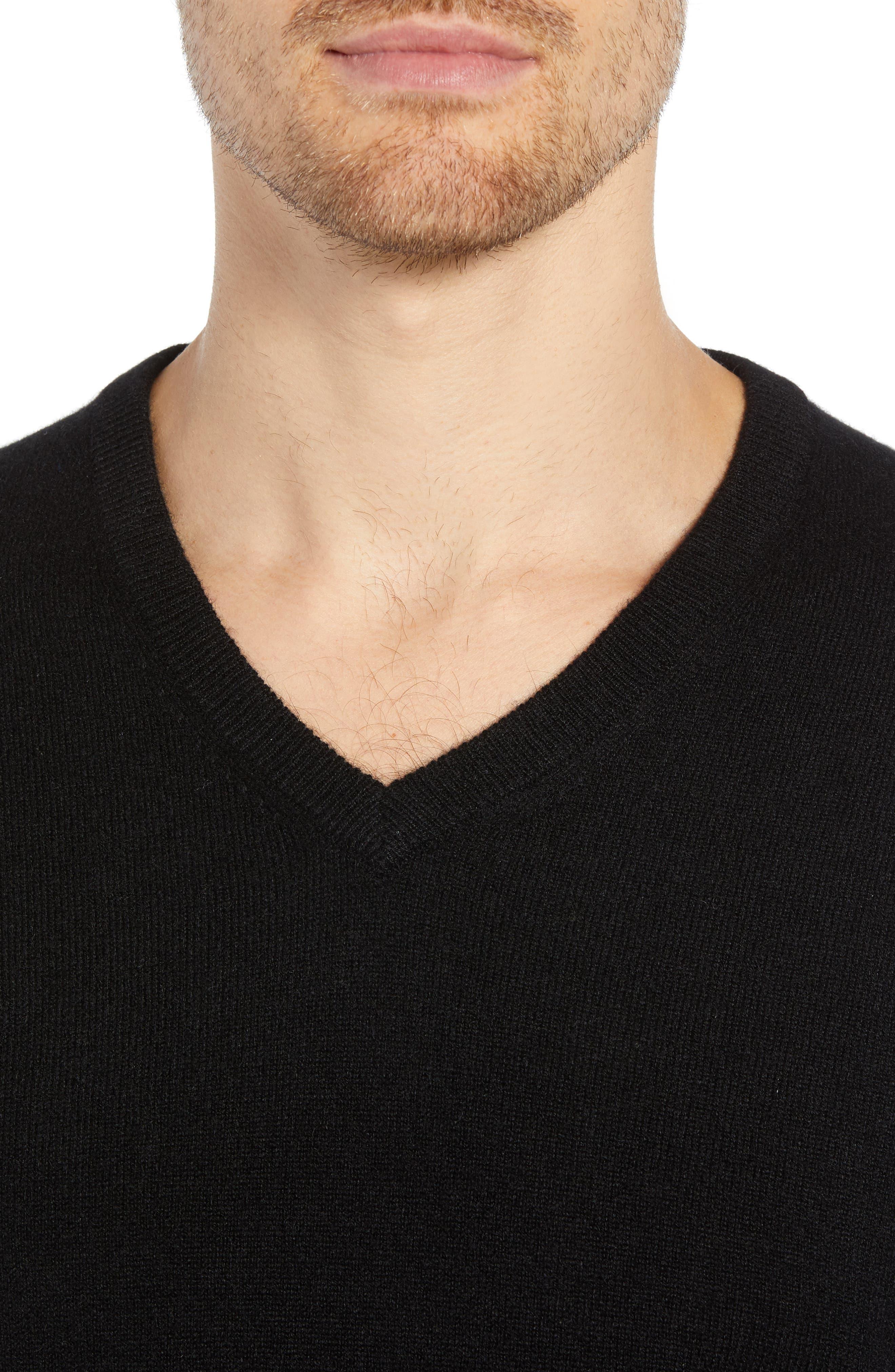 J.CREW,                             Everyday Cashmere Regular Fit V-Neck Sweater,                             Alternate thumbnail 4, color,                             001
