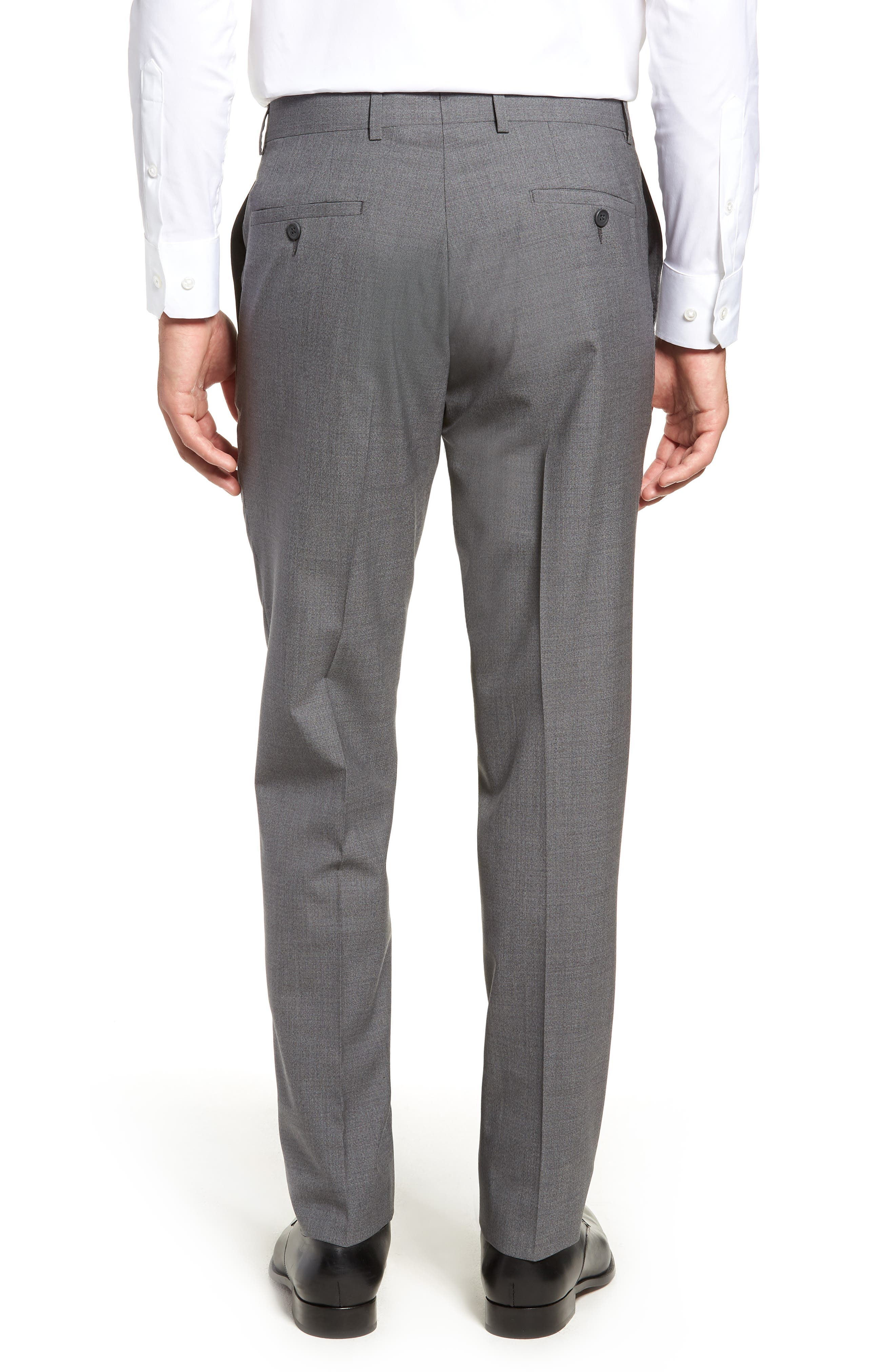 Trim Fit Flat Front Wool Trousers,                             Alternate thumbnail 2, color,                             GREY