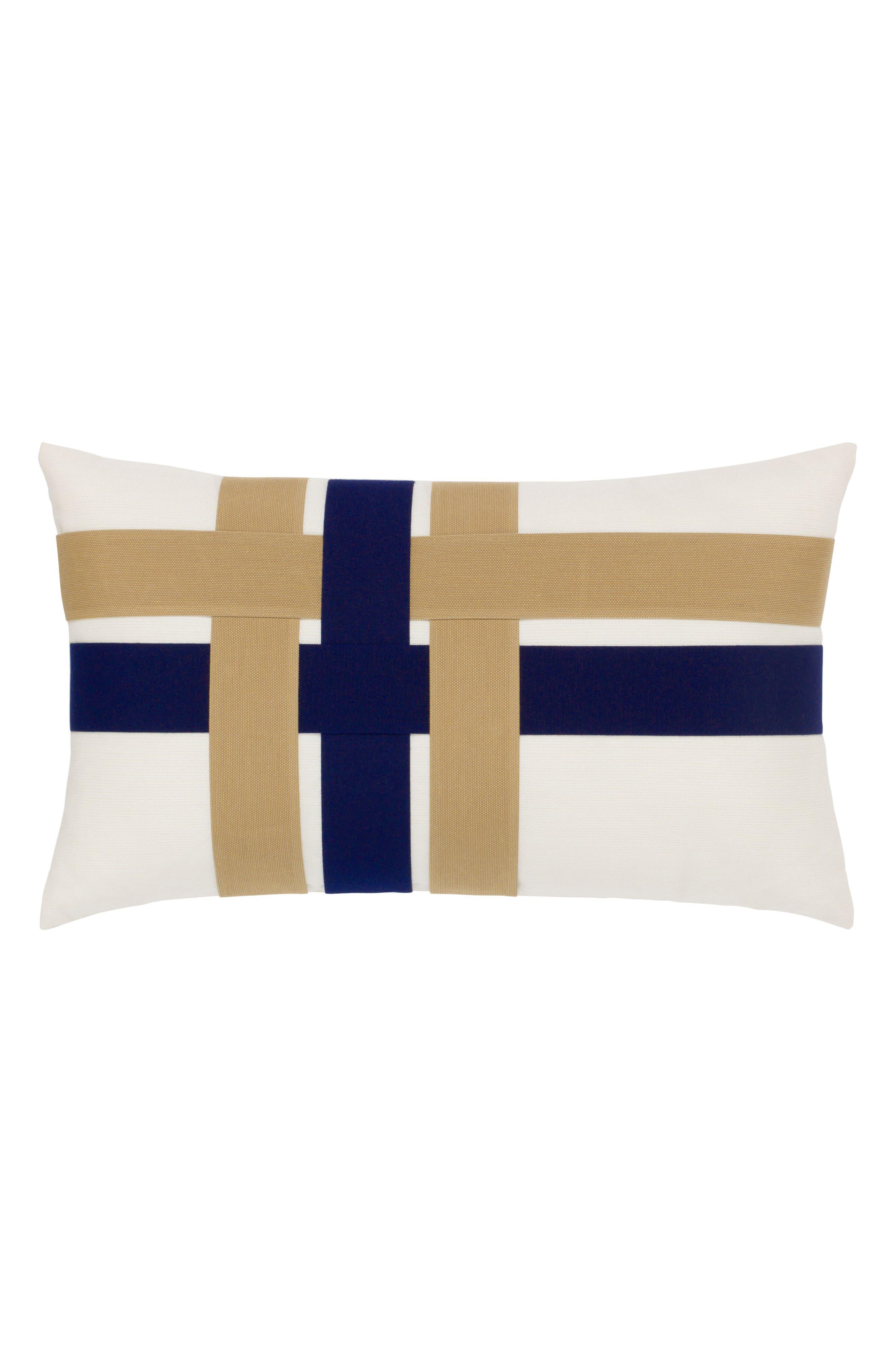 Woven Shimmer Lumbar Pillow,                             Main thumbnail 1, color,                             BLUE/ WHITE