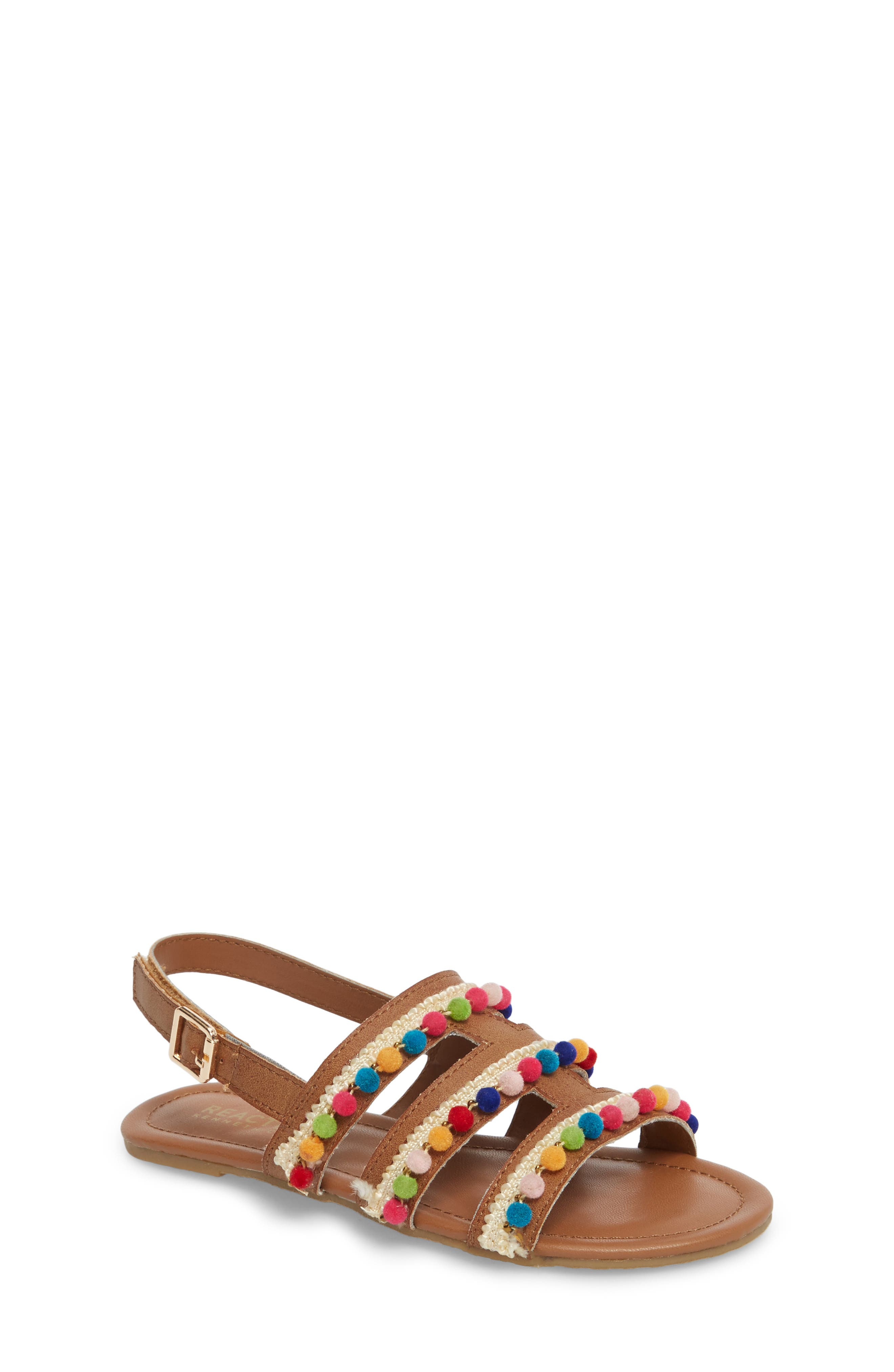 Kiera Pom Embellished Sandal,                             Main thumbnail 1, color,                             259