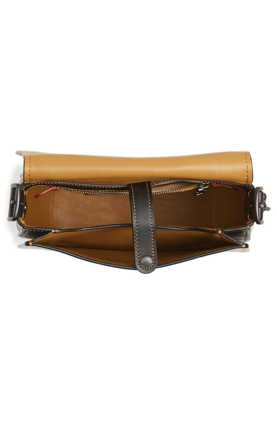 '23' Leather Saddle Bag,                             Alternate thumbnail 4, color,                             001