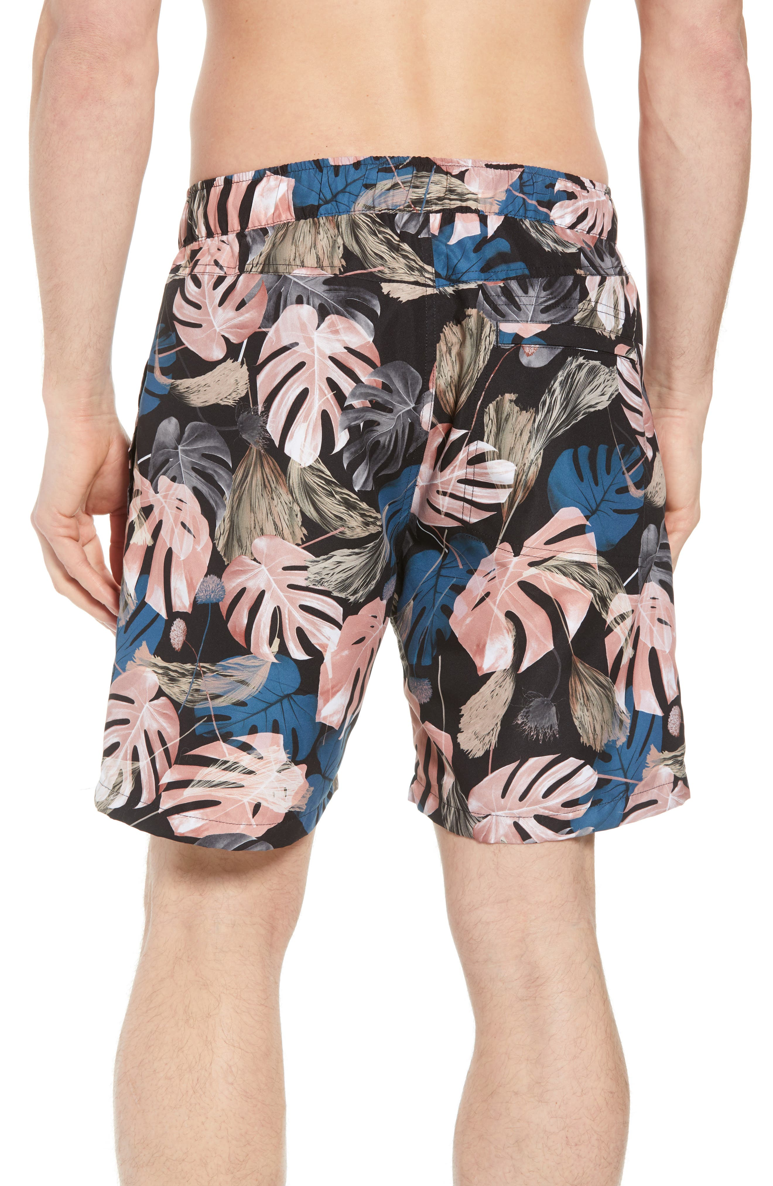 Trent Monstera Swim Shorts,                             Alternate thumbnail 2, color,                             001