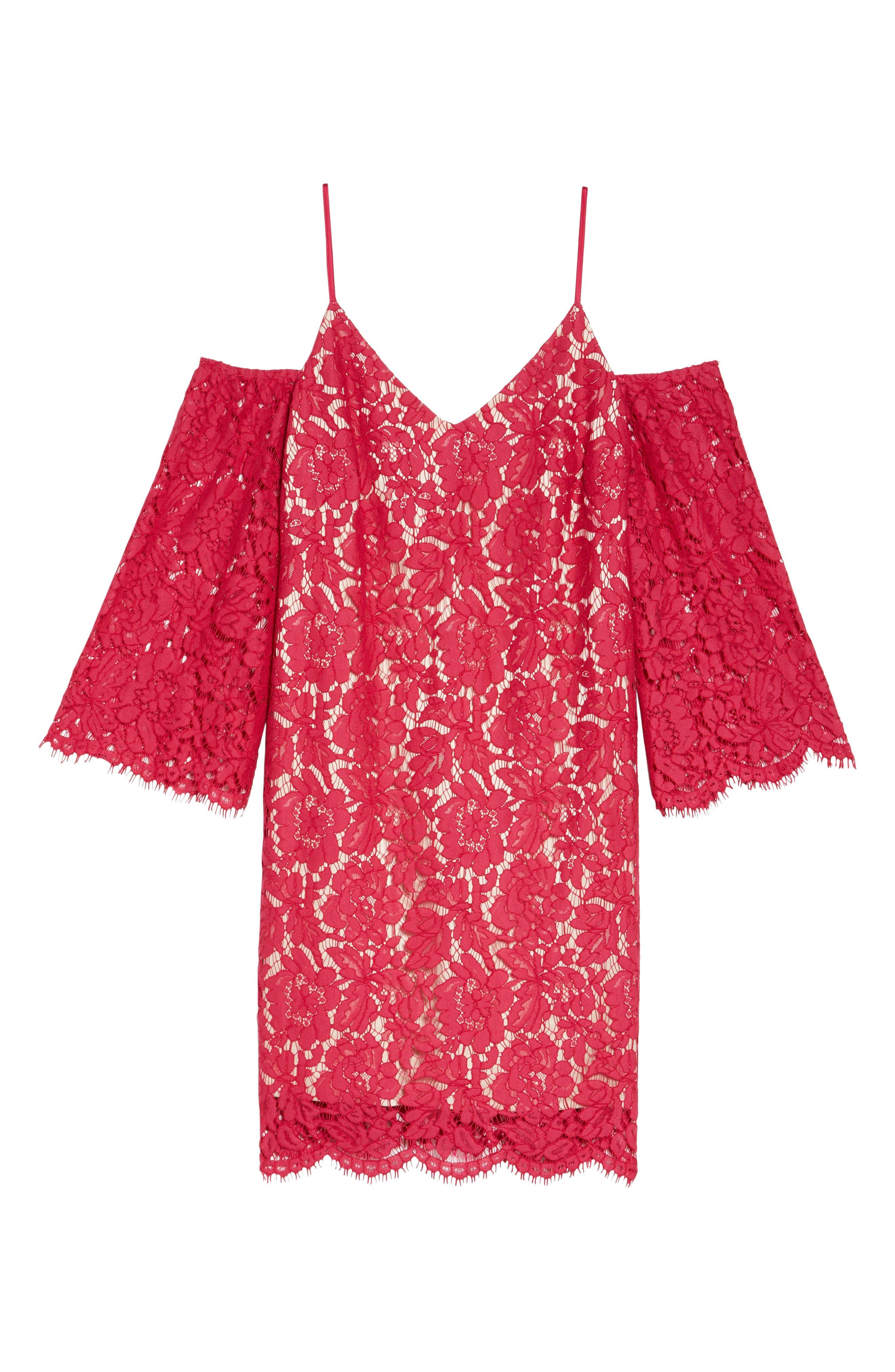 Cold Shoulder Lace Shift Dress,                             Alternate thumbnail 6, color,                             601