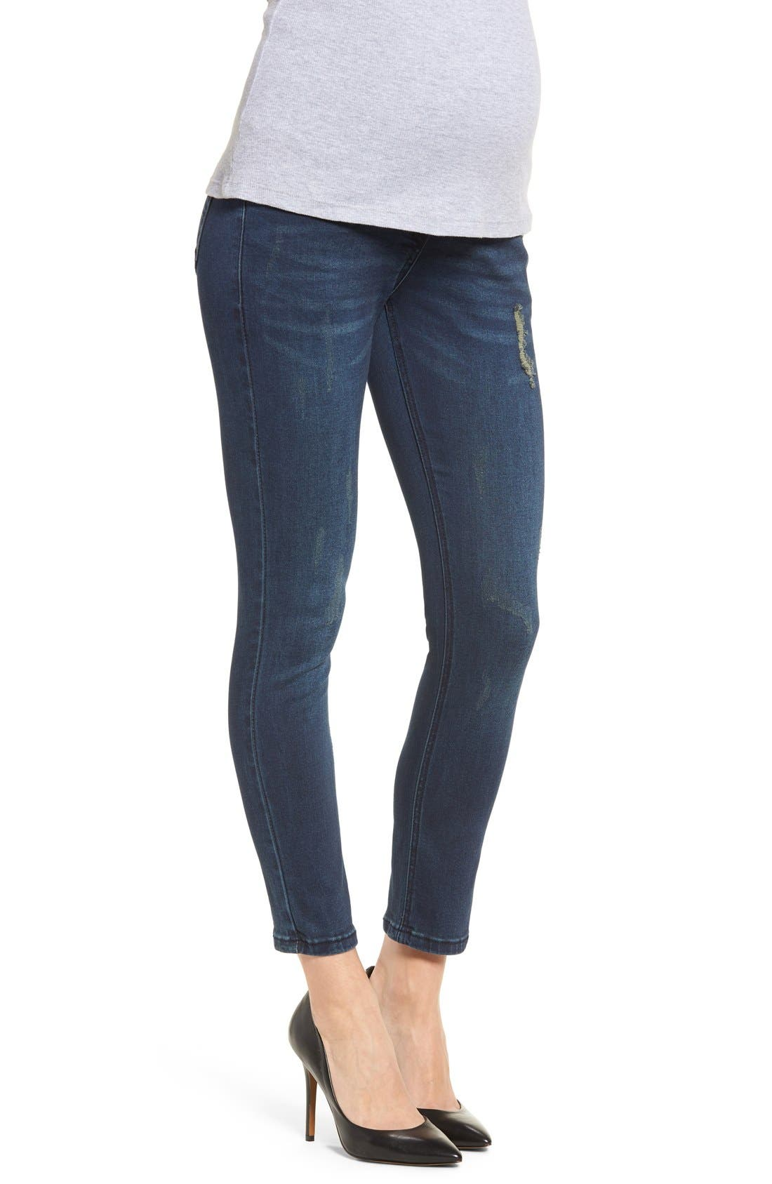 DistressedSkinnyMaternity Jeans,                             Alternate thumbnail 3, color,                             CLASSIC WASH