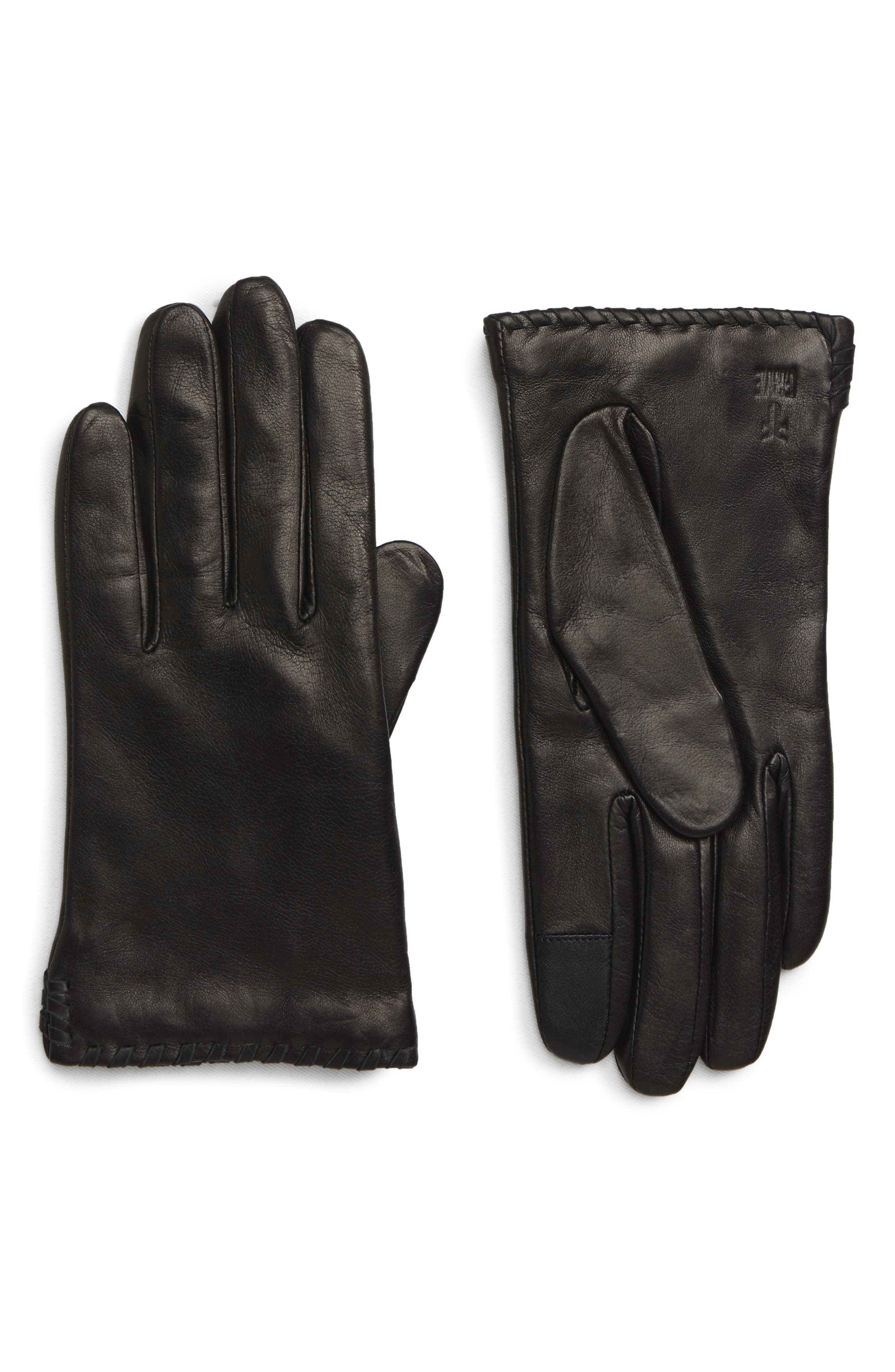 Nora Whipstitch Lambskin Leather Touchscreen Gloves, Main, color, BLACK