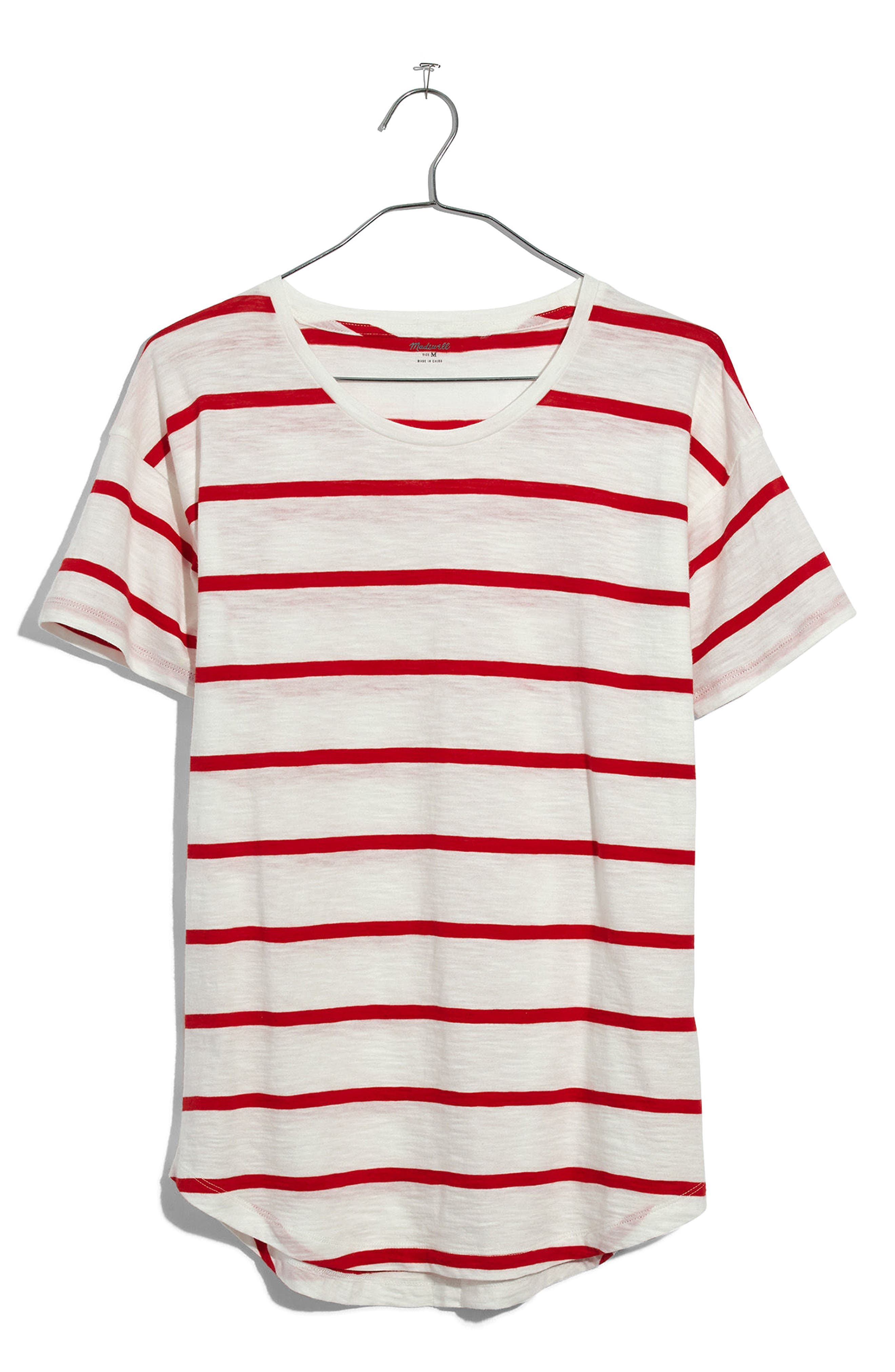 Whisper Cotton Crewneck Tee,                             Alternate thumbnail 3, color,                             BRIGHT IVORY/ RED