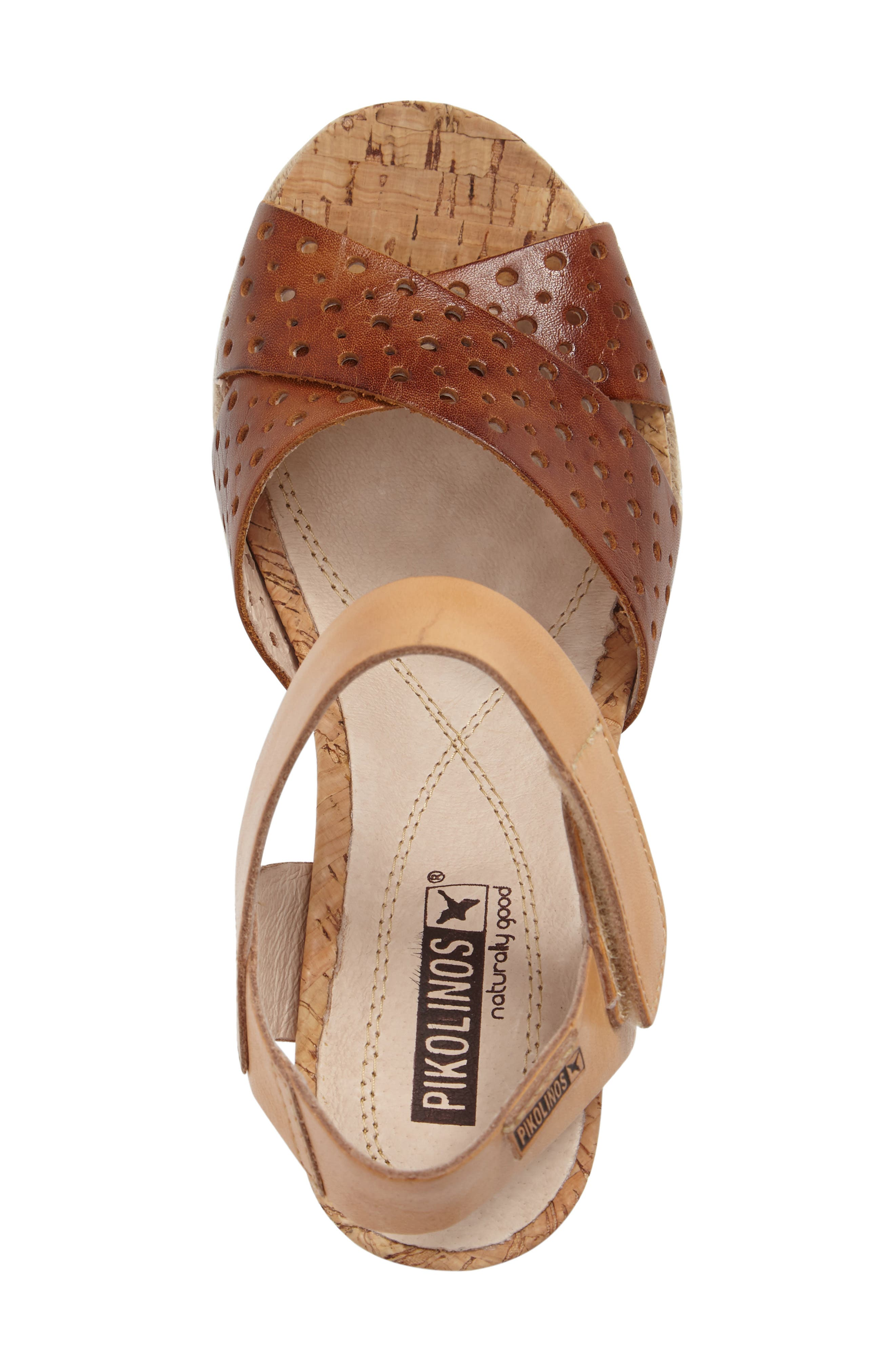 Bali Wedge Sandal,                             Alternate thumbnail 5, color,                             BRANDY CAMEL LEATHER