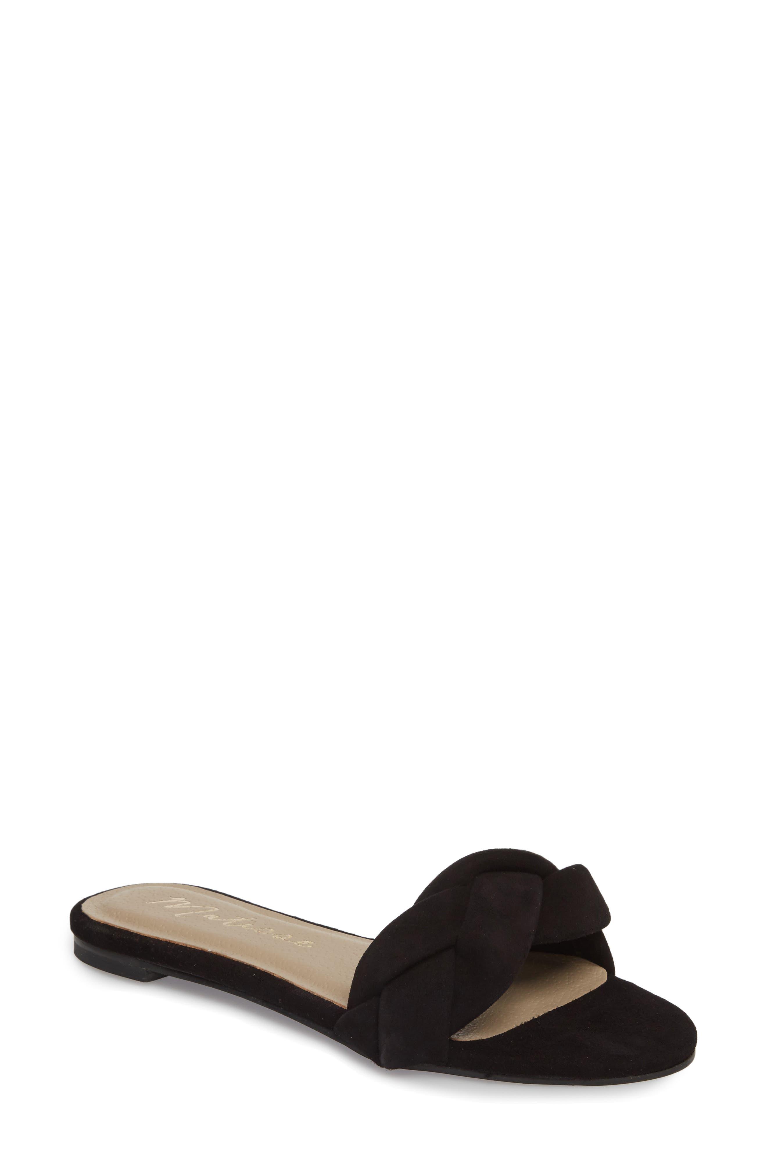 Georgie Slide Sandal,                             Main thumbnail 1, color,                             BLACK SUEDE