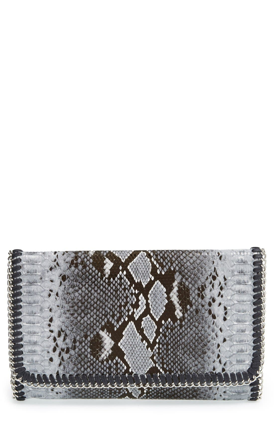 Snake Embossed Faux Leather Foldover Clutch,                         Main,                         color, 020