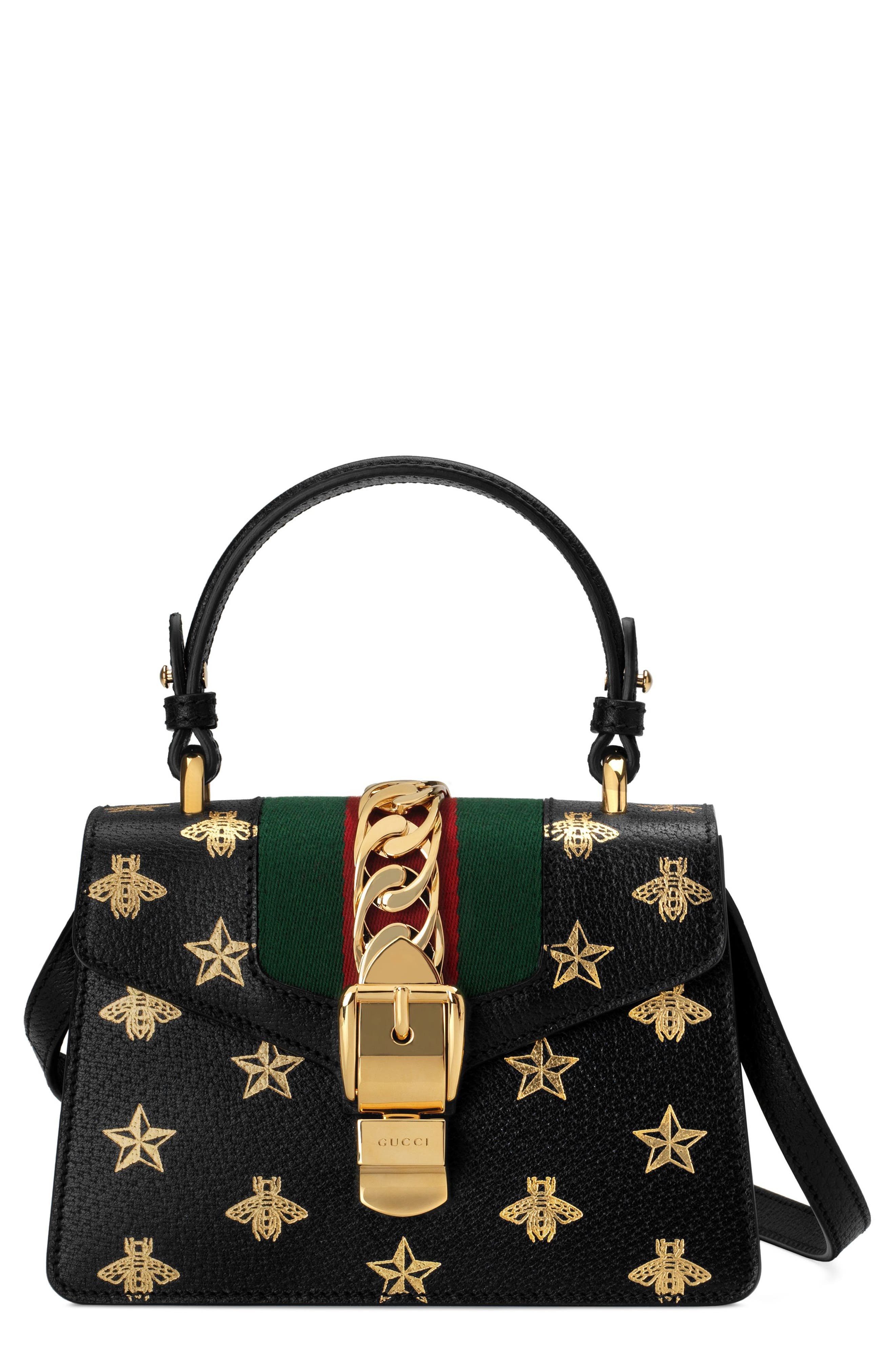 Small Sylvie Top Handle Leather Shoulder Bag,                         Main,                         color, NERO/ ORO/ VERT/ RED