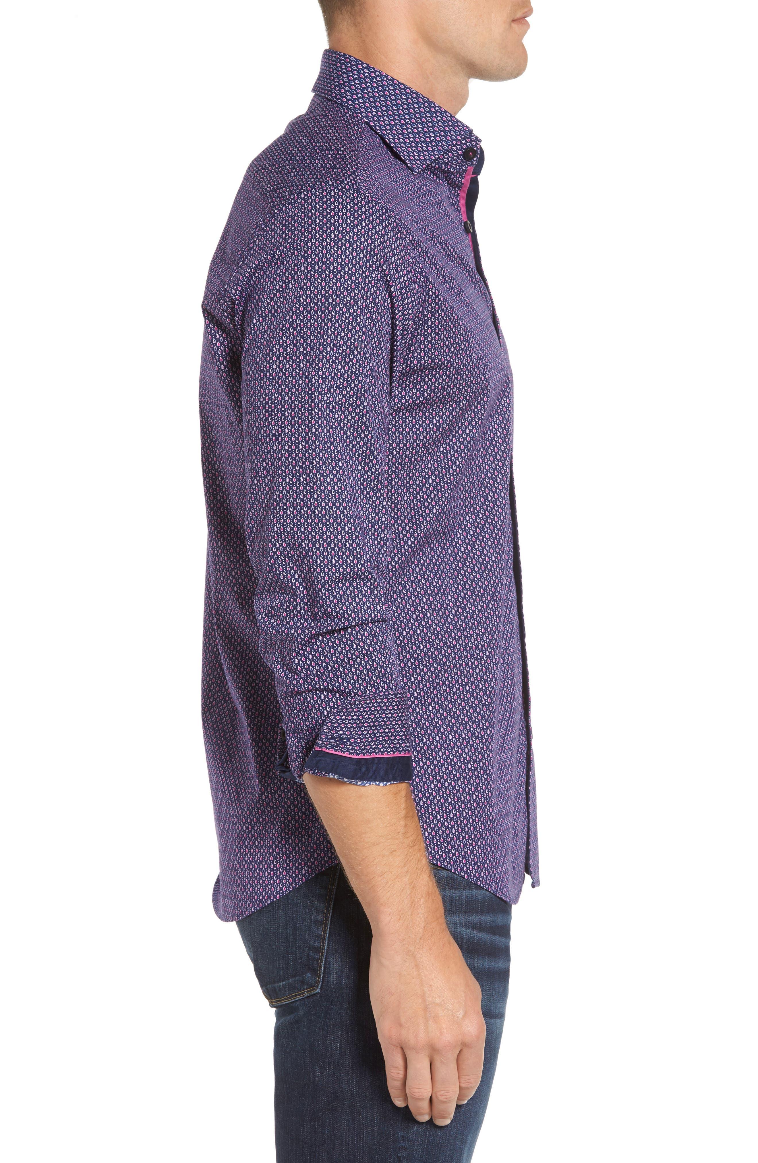 Slim Fit Teardrop Print Sport Shirt,                             Alternate thumbnail 3, color,                             500