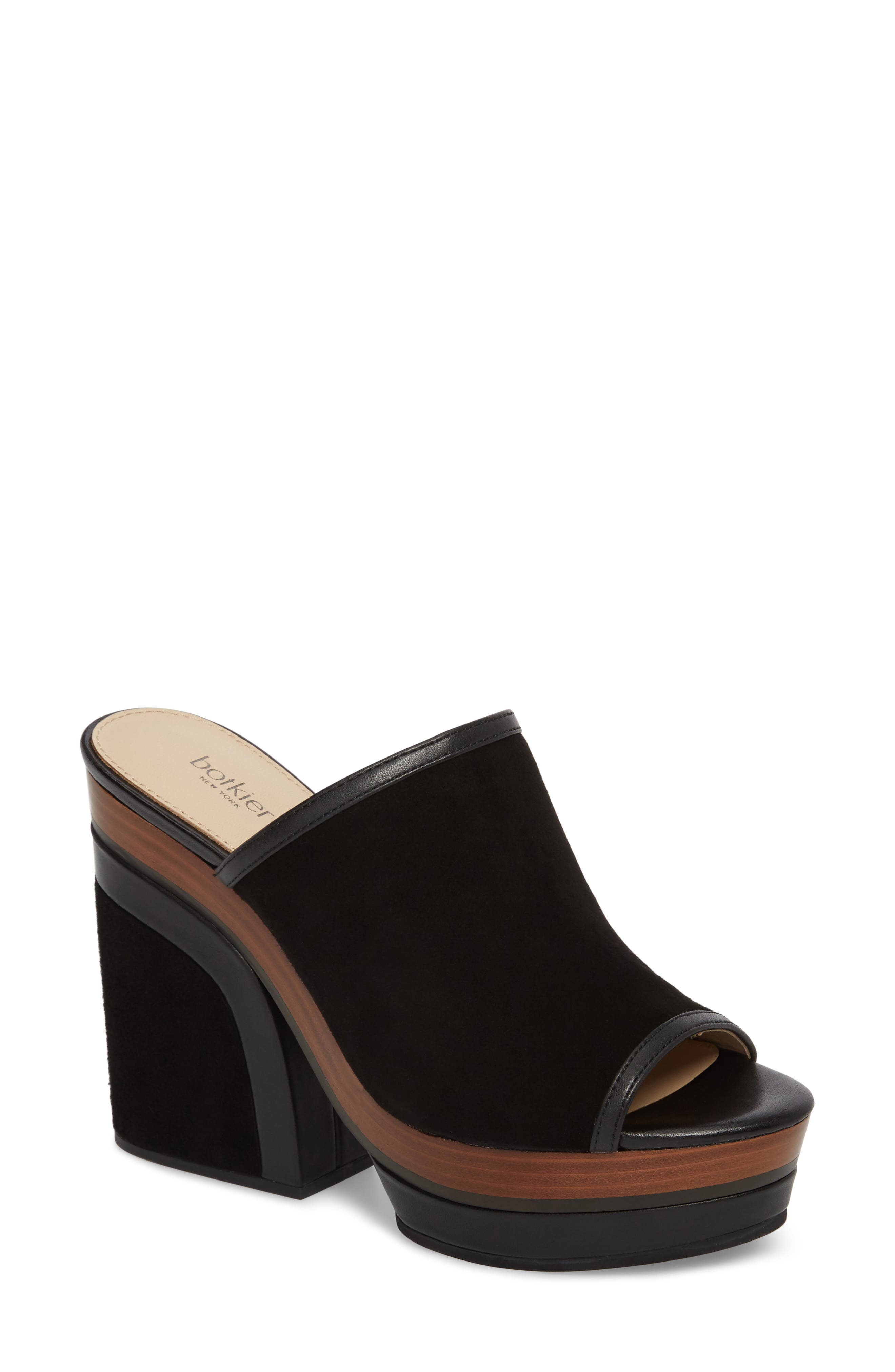 Platform Sandal,                         Main,                         color, BLACK SUEDE