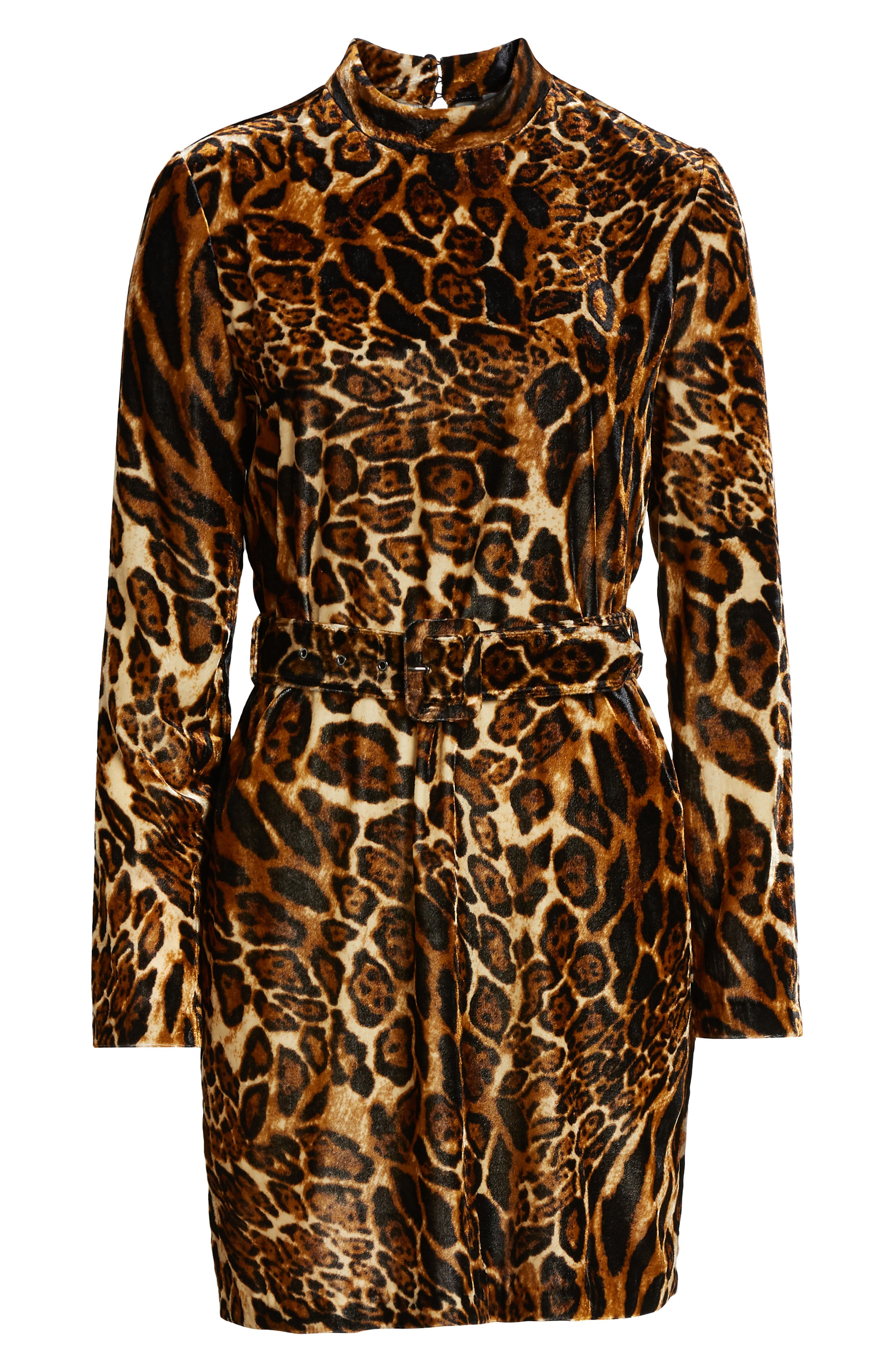 Peggy Mock Neck Velvet Dress,                             Alternate thumbnail 7, color,                             LEOPARD