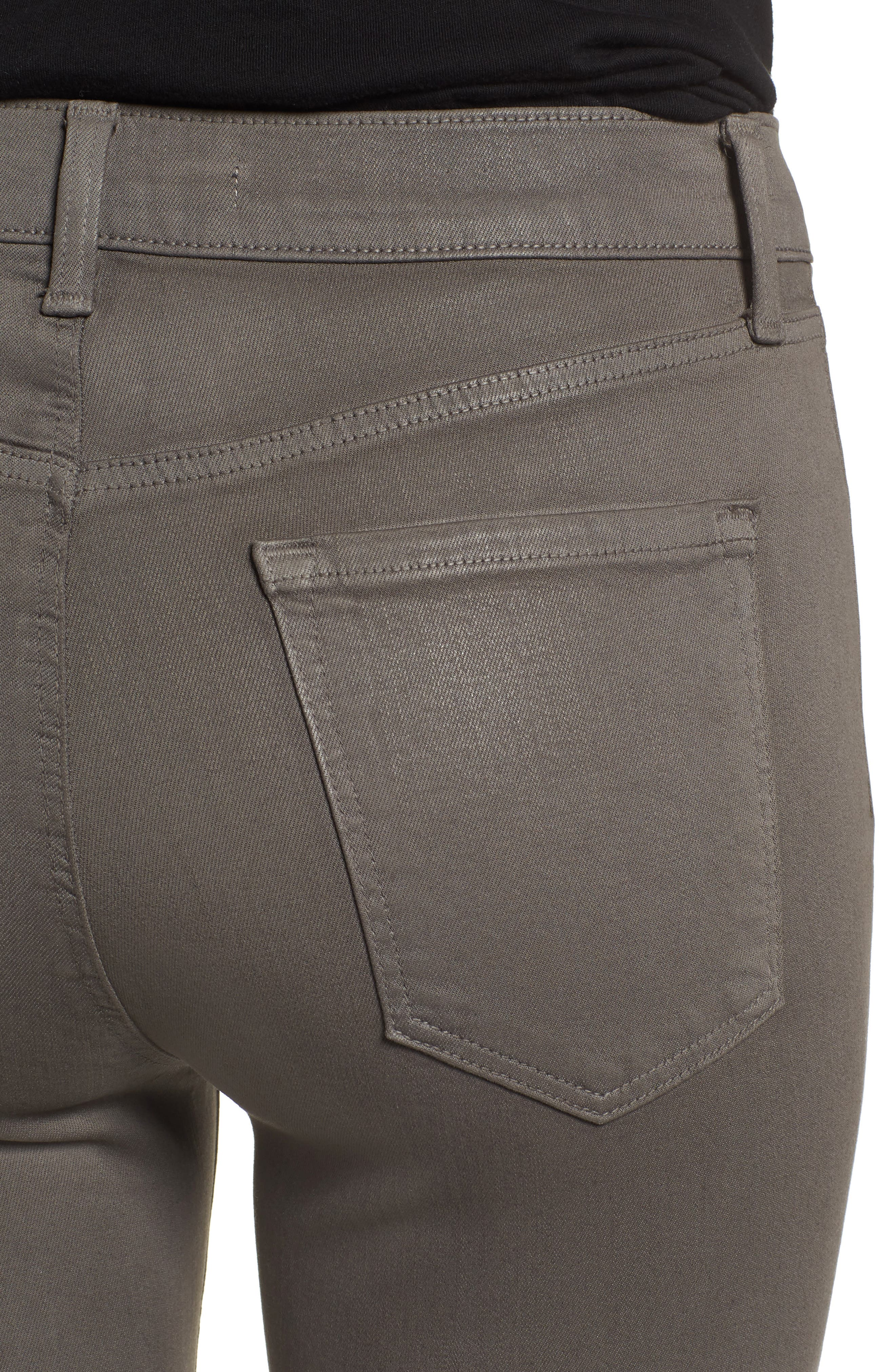 Alana High Waist Crop Skinny Jeans,                             Alternate thumbnail 4, color,                             COATED JUNIPER