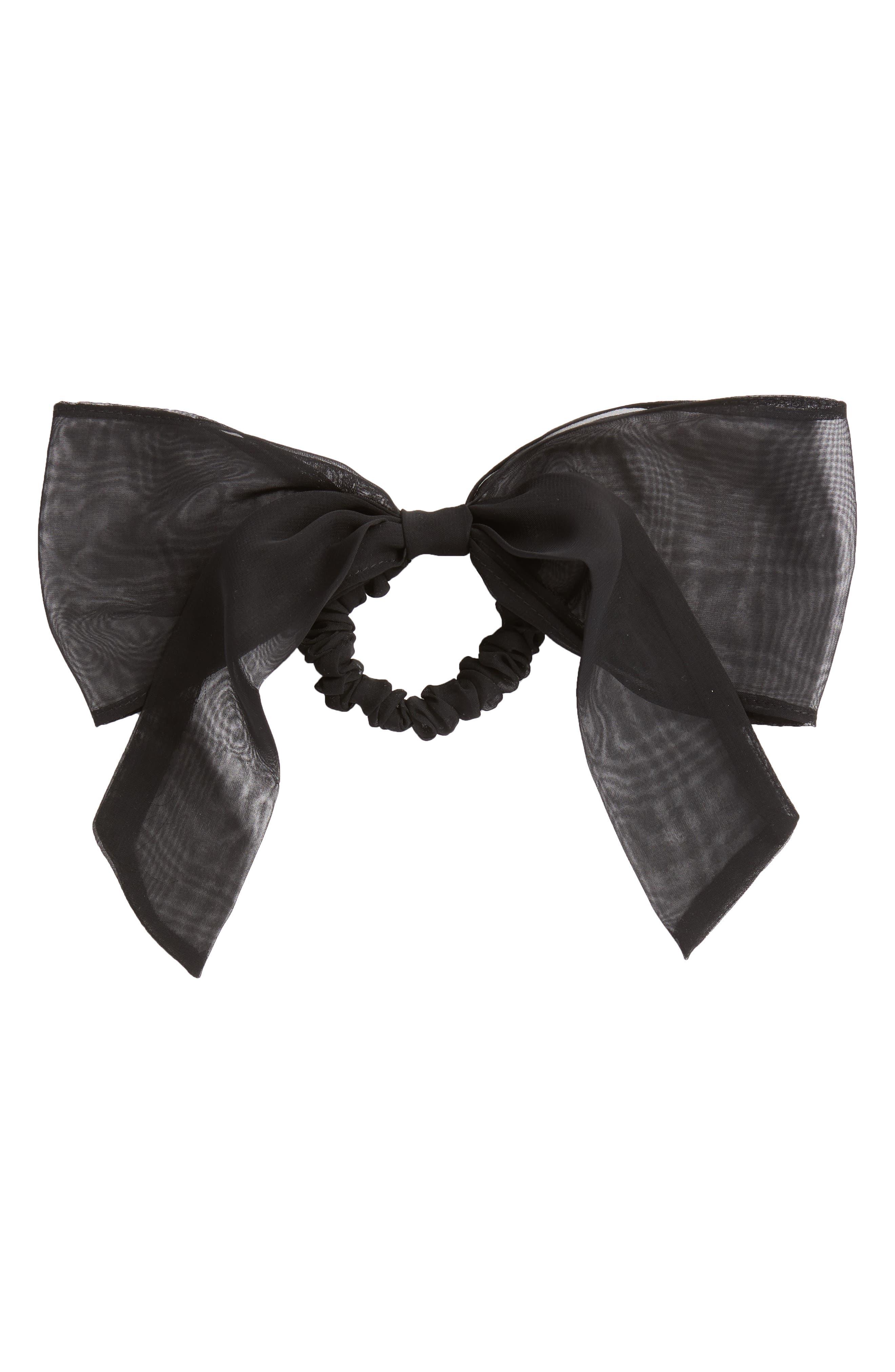 Chiffon Bow Ponytail Holder,                             Main thumbnail 1, color,                             BLACK