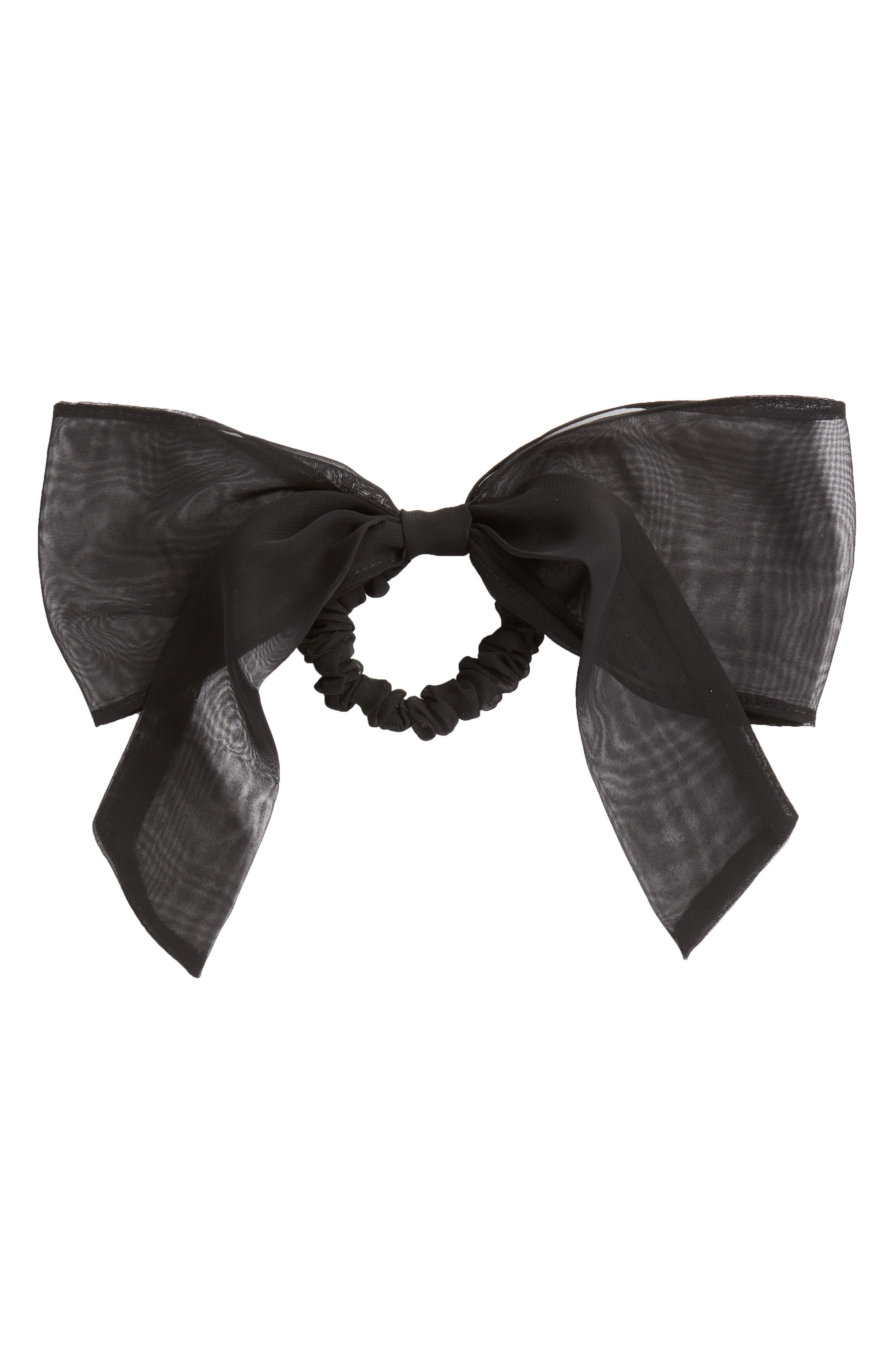 Chiffon Bow Ponytail Holder,                         Main,                         color, BLACK