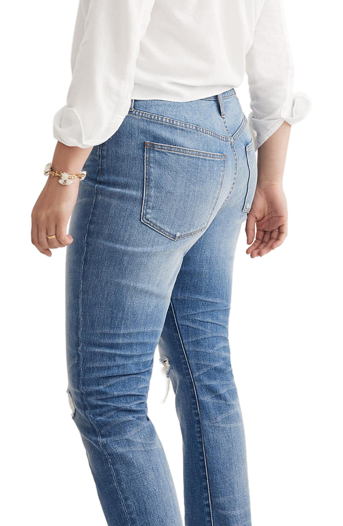 Ripped High Waist Slim Boyfriend Jeans,                             Alternate thumbnail 2, color,                             400