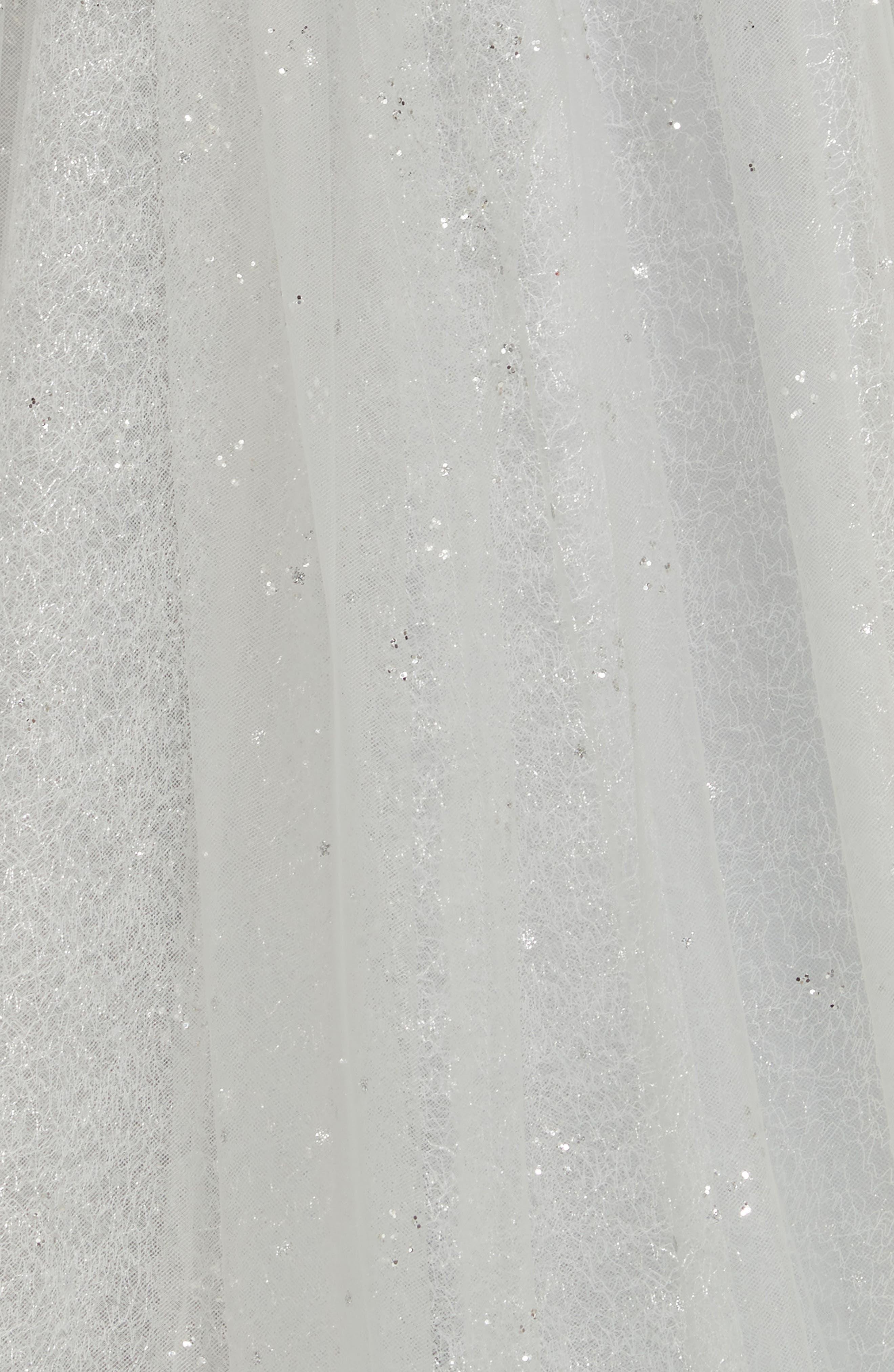 MARCHESA NOTTE,                             Glitter Tulle Tea Length Dress,                             Alternate thumbnail 6, color,                             SILVER