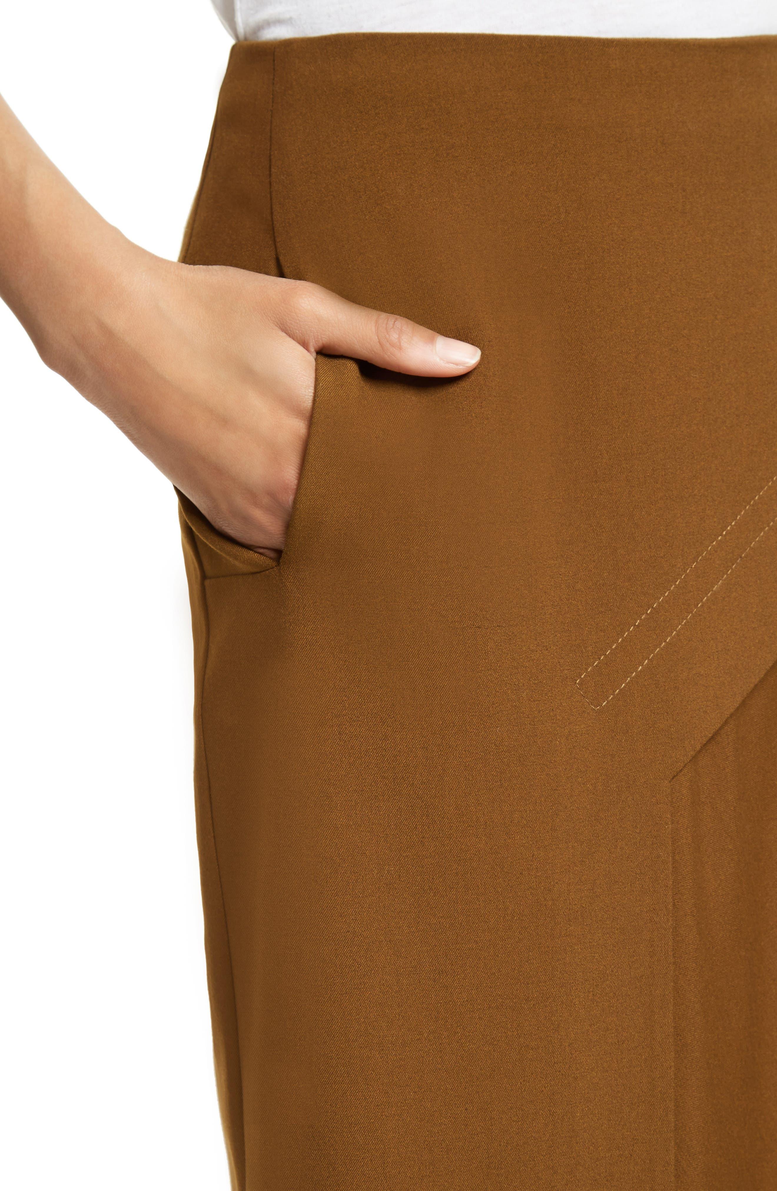 Draped Twill Skirt,                             Alternate thumbnail 4, color,                             200
