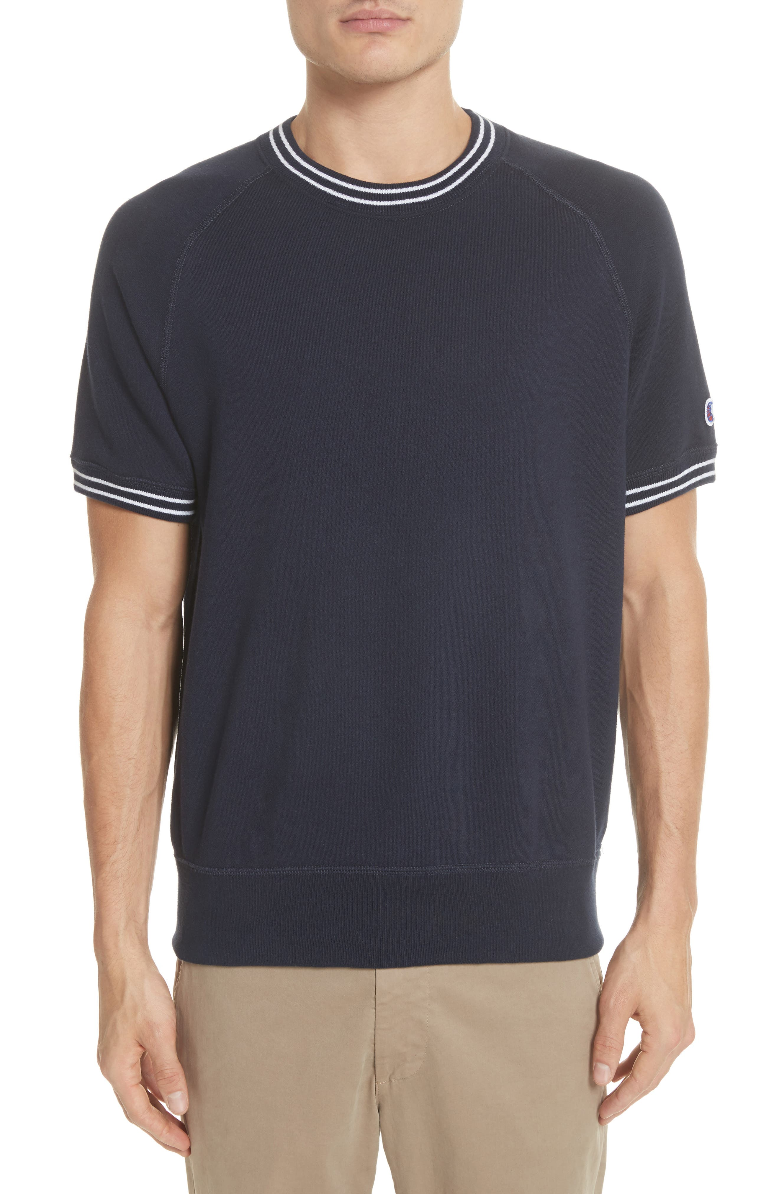 + Champion Stripe Rib Short Sleeve Sweatshirt,                         Main,                         color, 410
