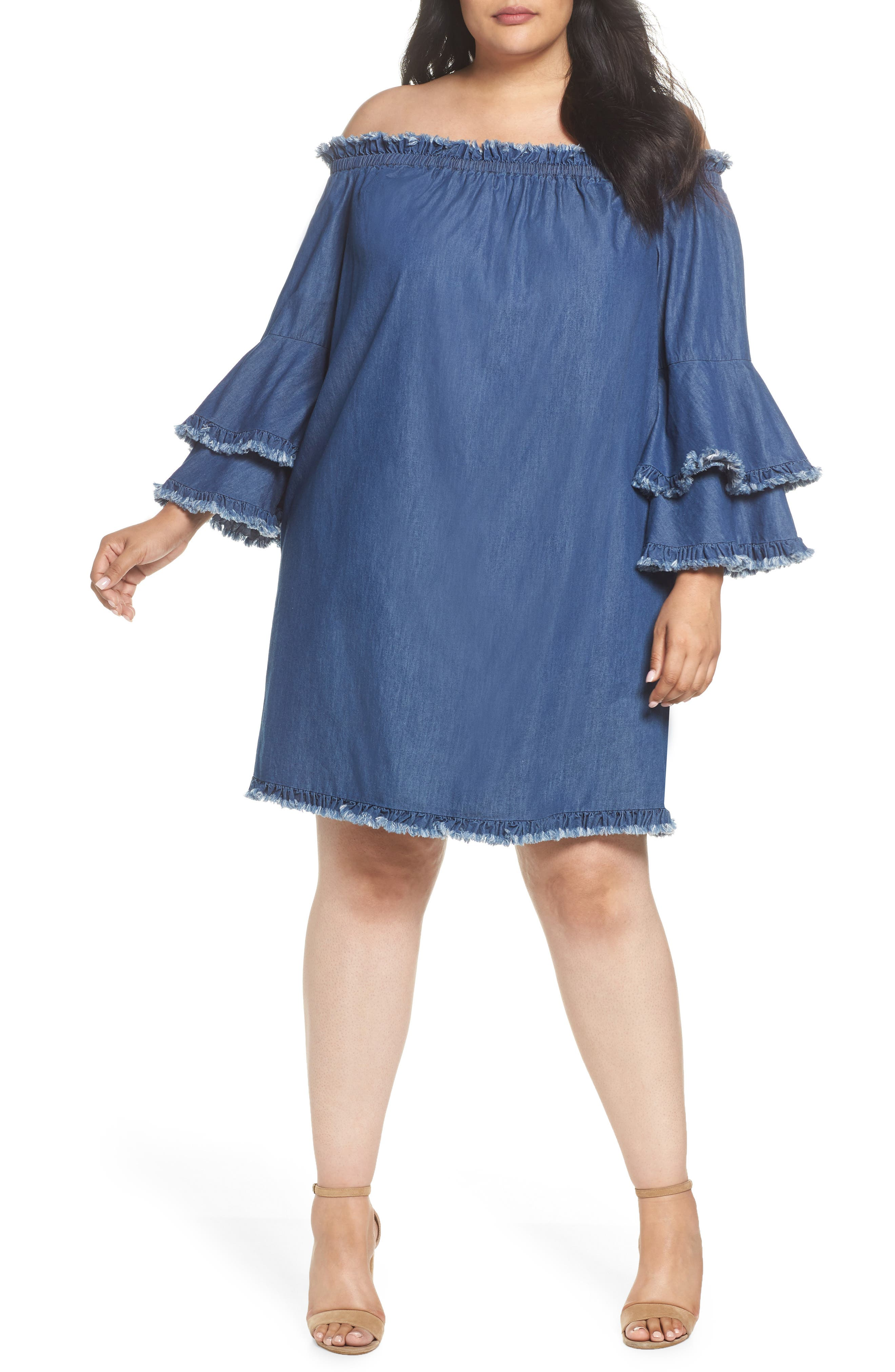 Bell Sleeve Off the Shoulder Denim Shift Dress,                             Main thumbnail 1, color,                             INDIGO