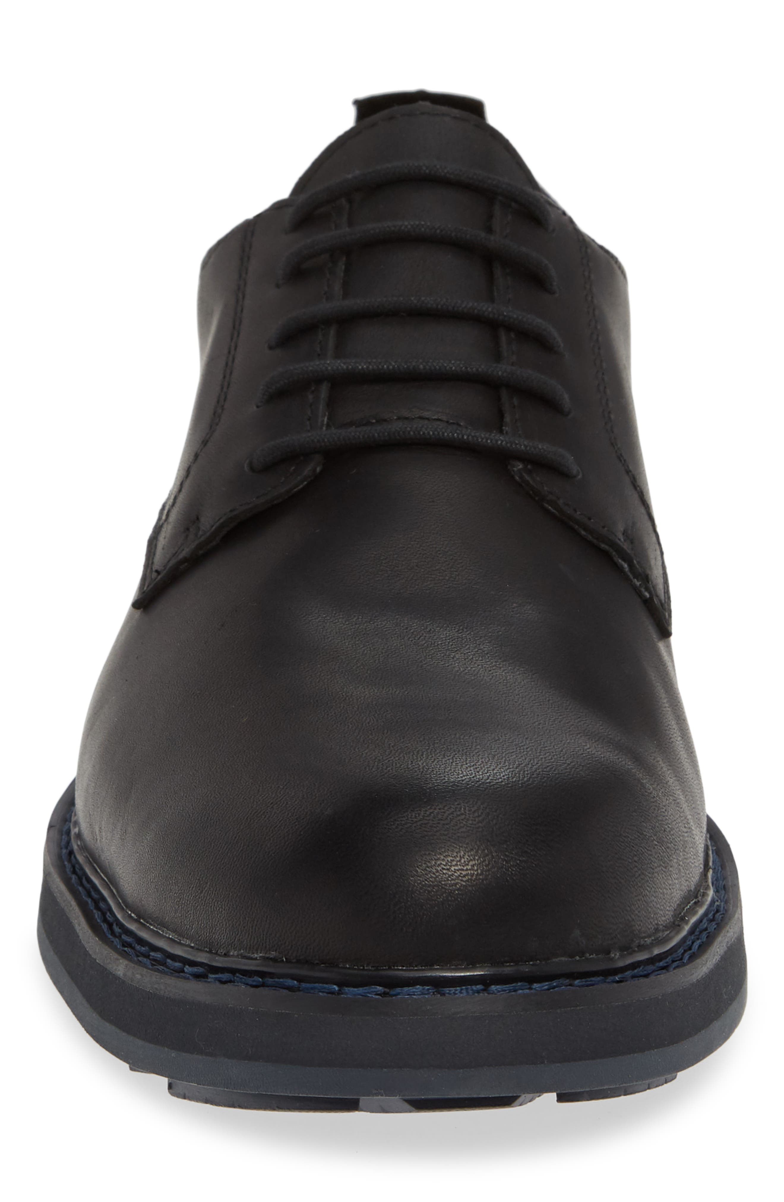 Squall Canyon Waterproof Plain Toe Derby,                             Alternate thumbnail 4, color,                             BLACK LEATHER