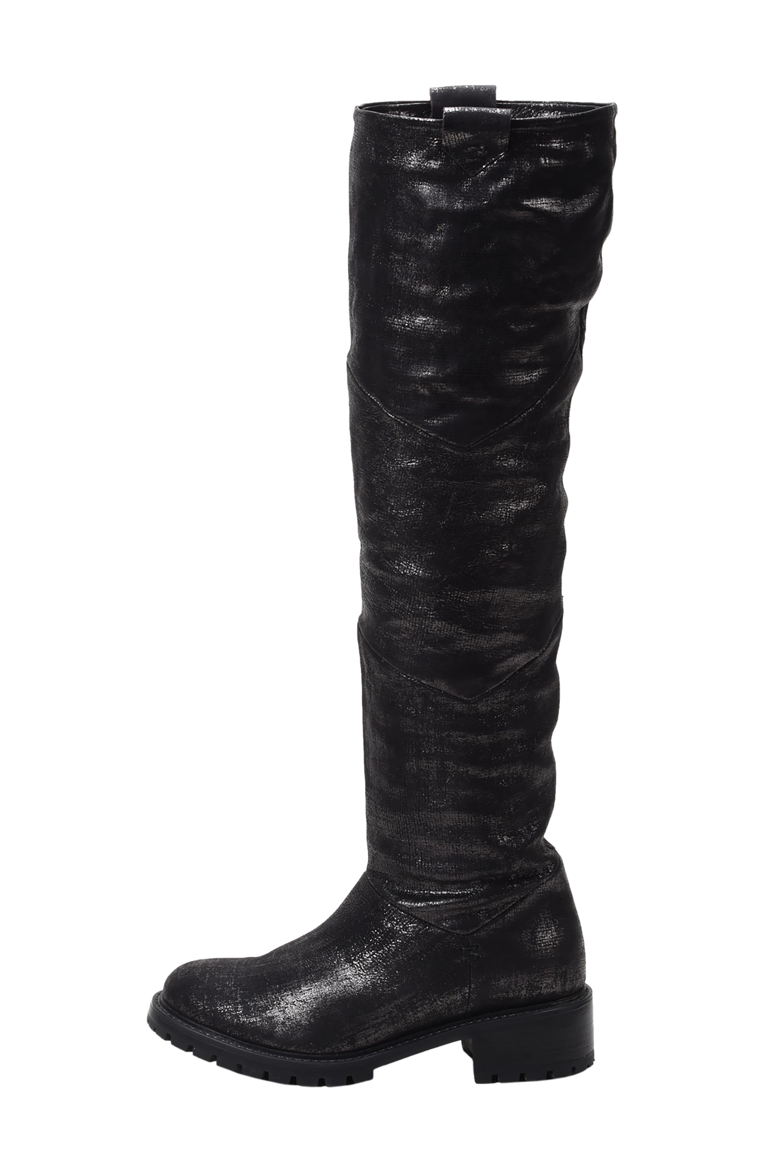 Elena Waterproof Genuine Shearling Lined Knee High Boot,                             Alternate thumbnail 2, color,                             BLACK/ SILVER LEATHER