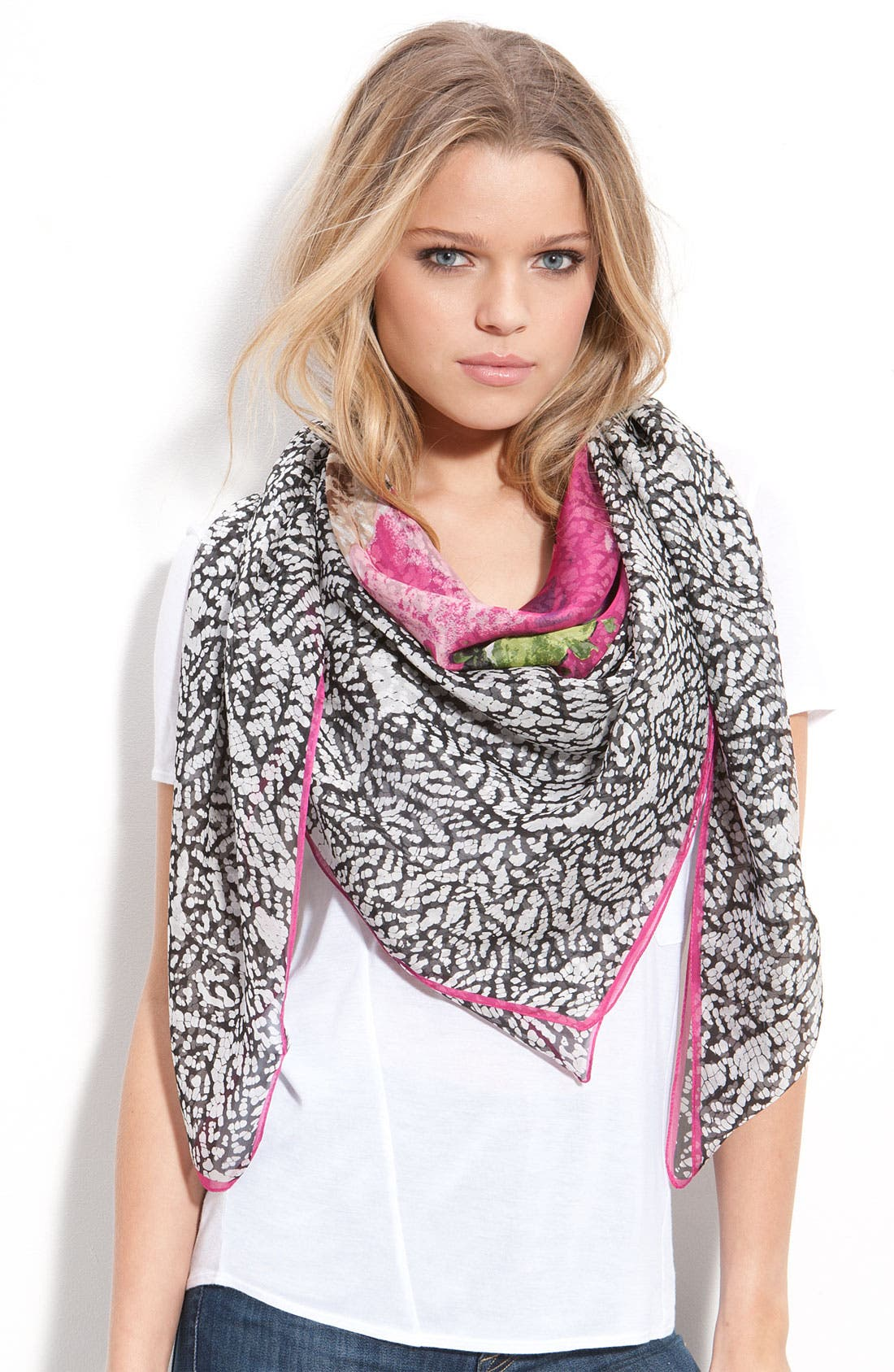 Oversized Floral Silk Scarf, Main, color, 650