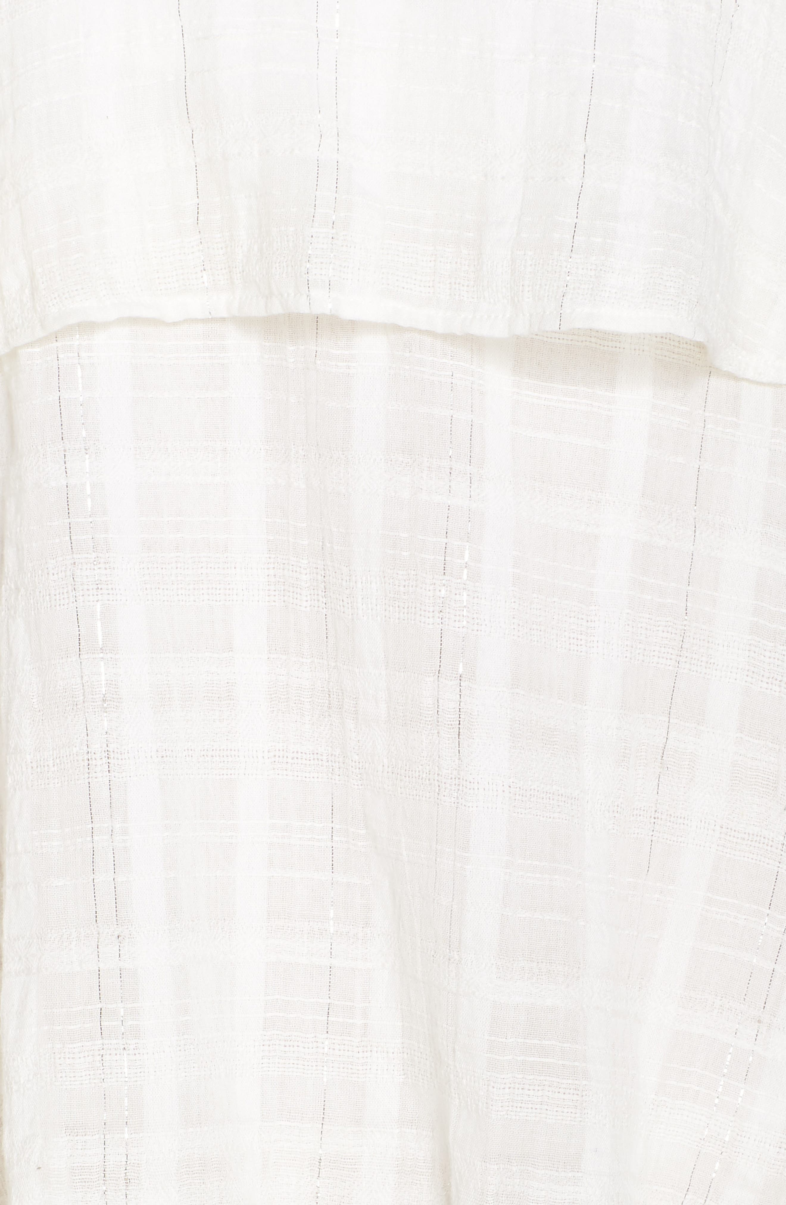 Mariah Ruffled Cover-Up Dress,                             Alternate thumbnail 5, color,                             WHITE-SILVER