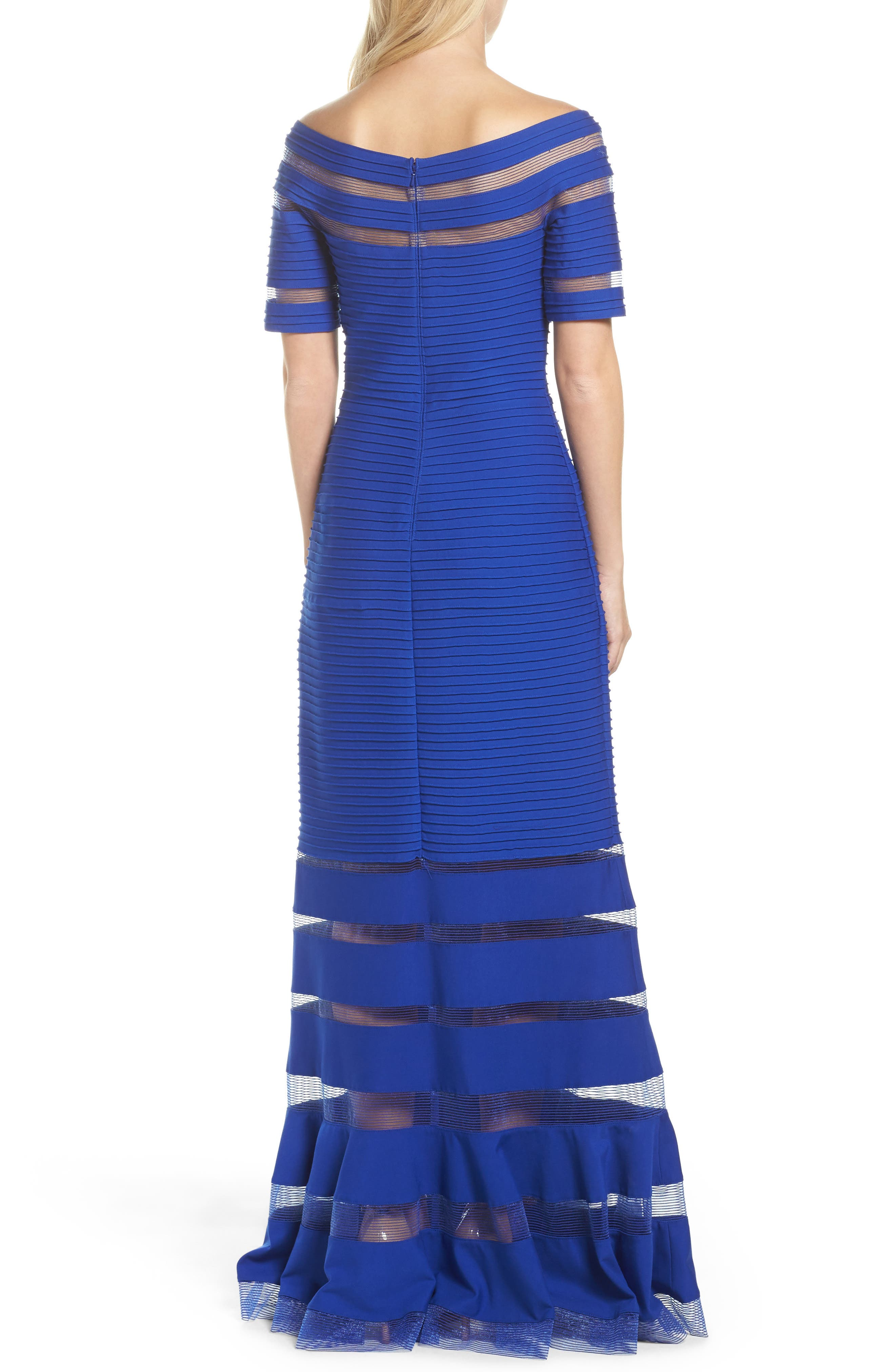 Pintuck Jersey Off the Shoulder Gown,                             Alternate thumbnail 2, color,