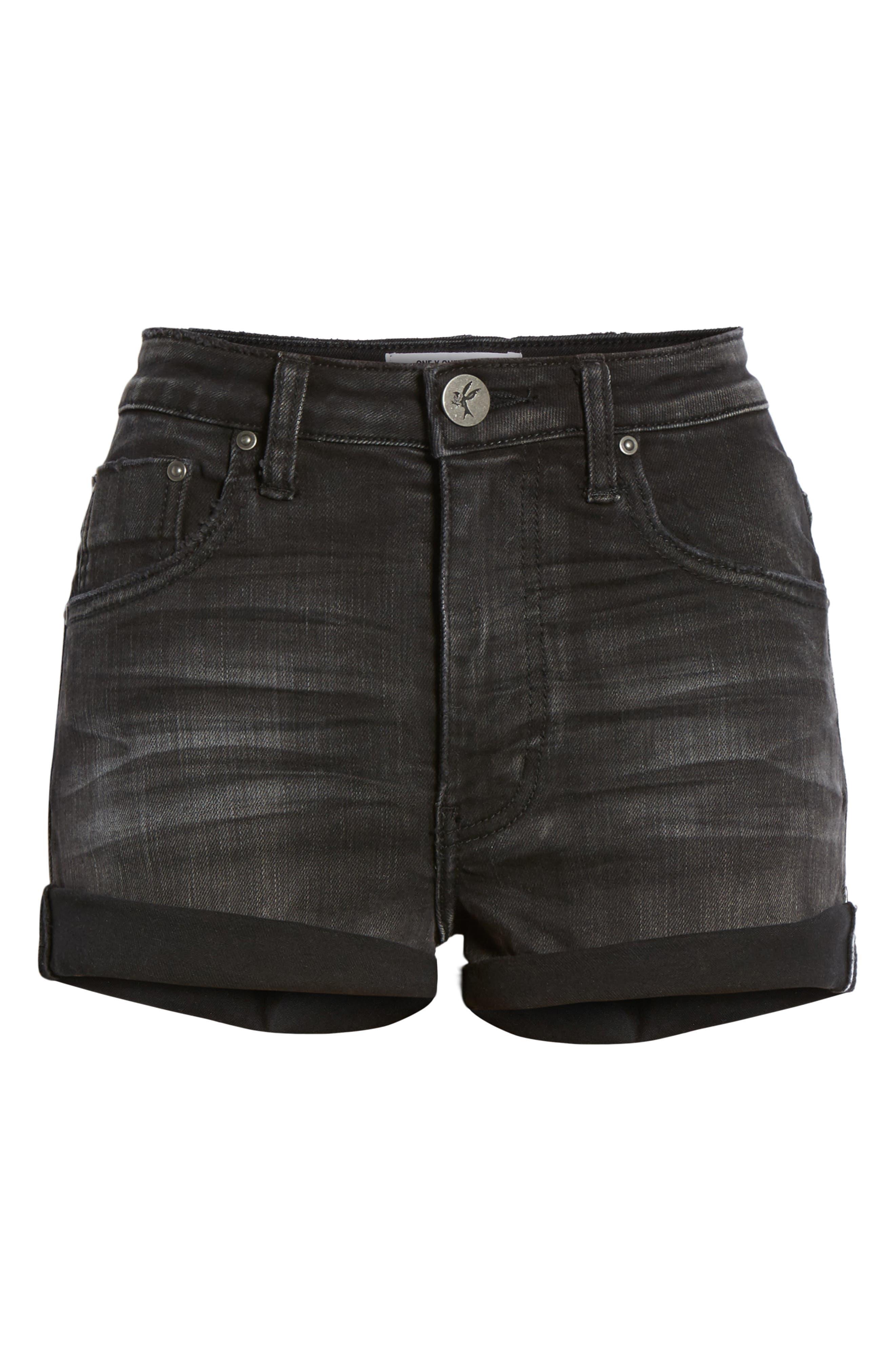 Harlets Cuffed Denim Shorts,                             Alternate thumbnail 6, color,