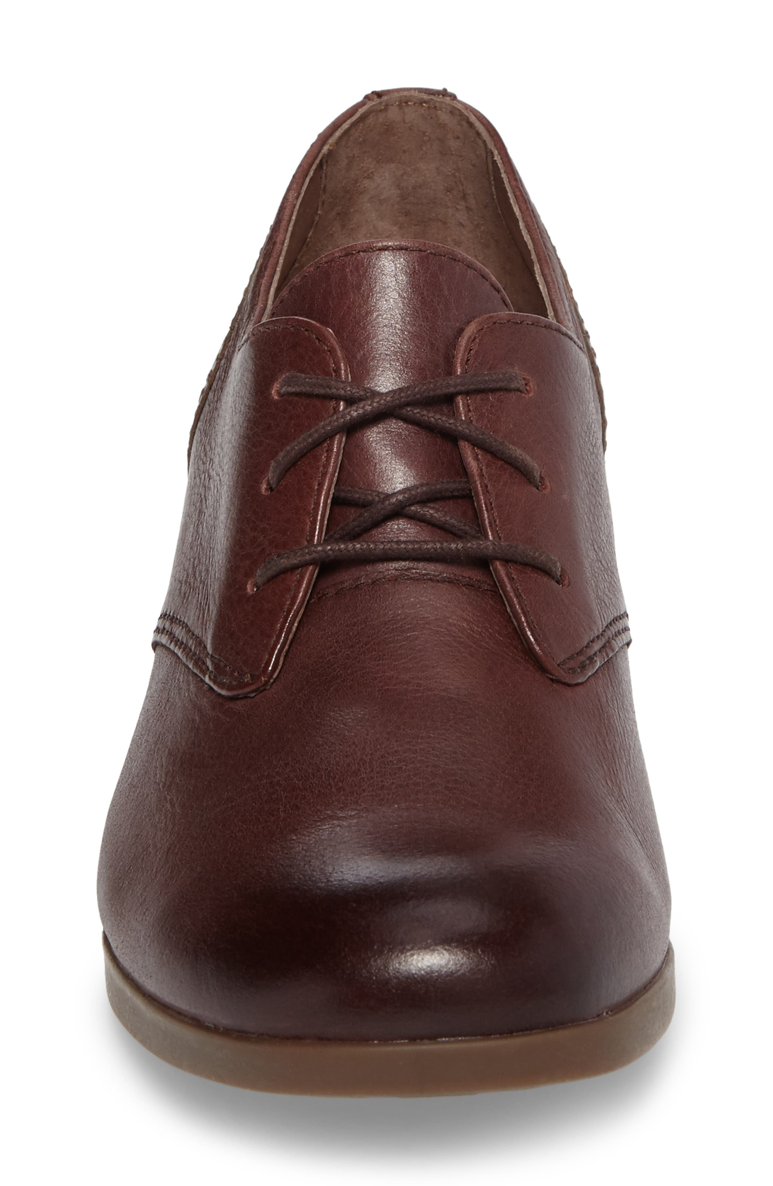 'Louise' Round Toe Derby,                             Alternate thumbnail 4, color,                             WINE BURNISHED LEATHER