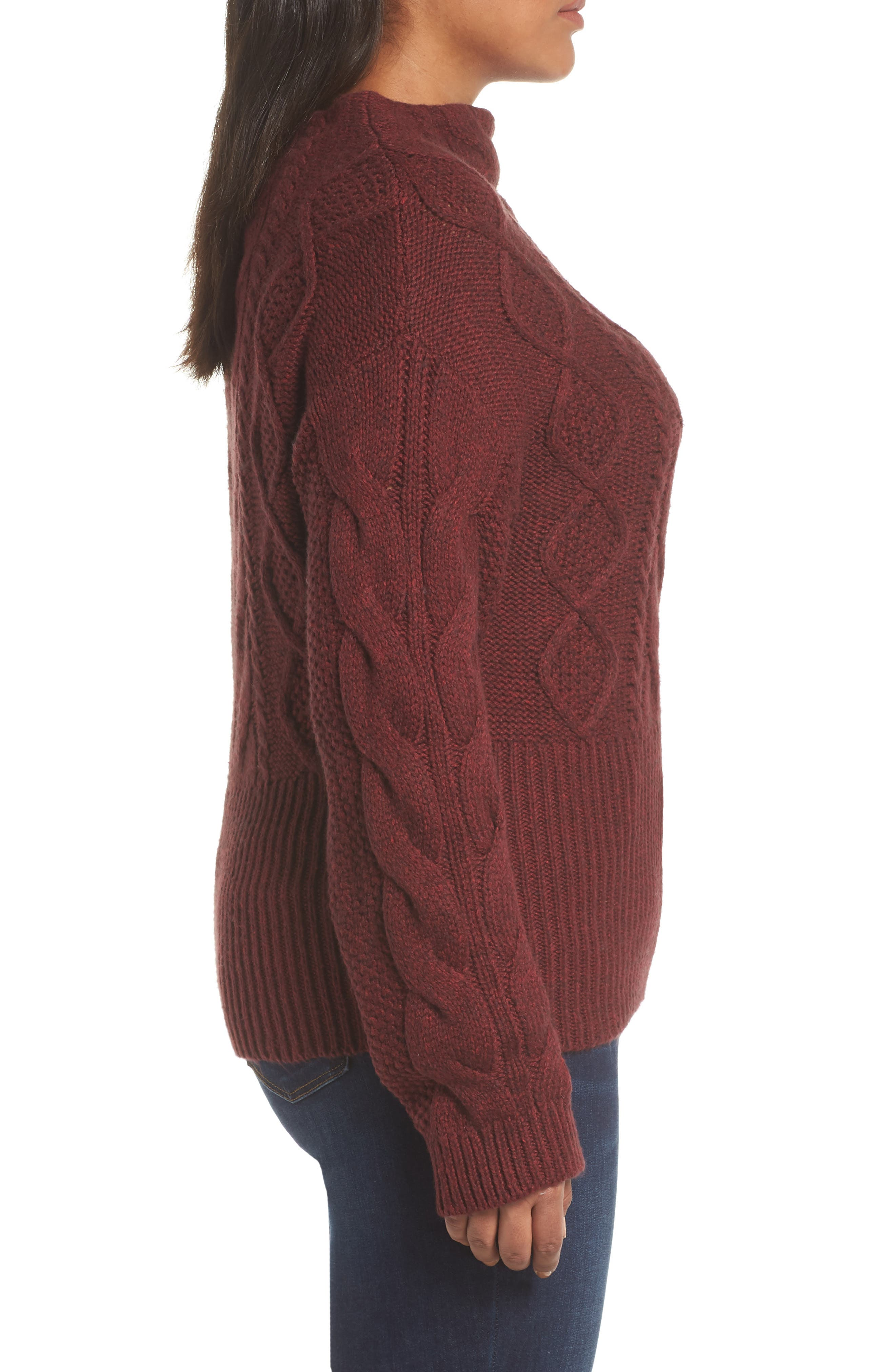 Cotton Blend Cable Knit Sweater,                             Alternate thumbnail 5, color,                             MANOR RED