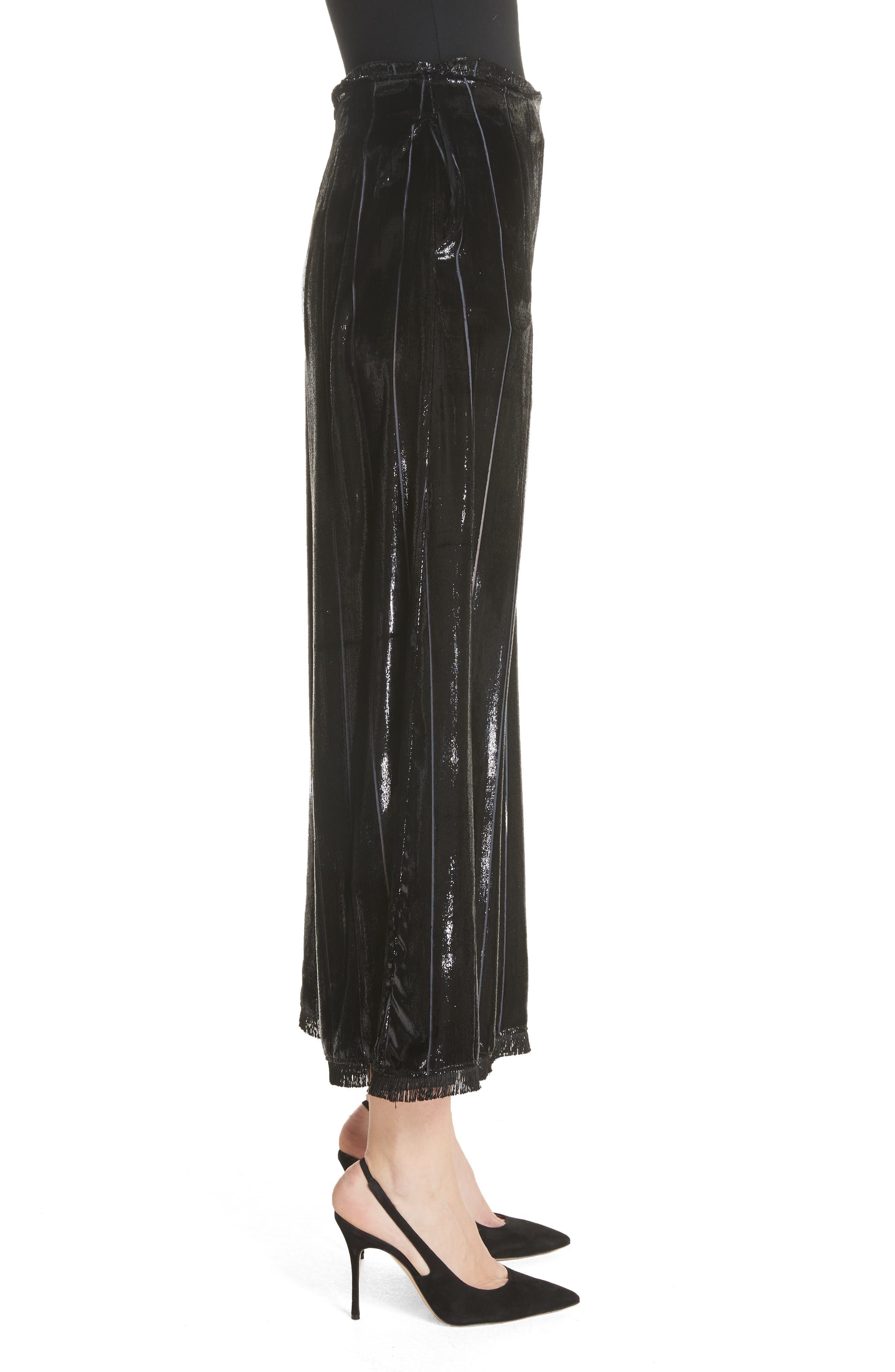 Metallic Silk Blend Culottes,                             Alternate thumbnail 3, color,                             001