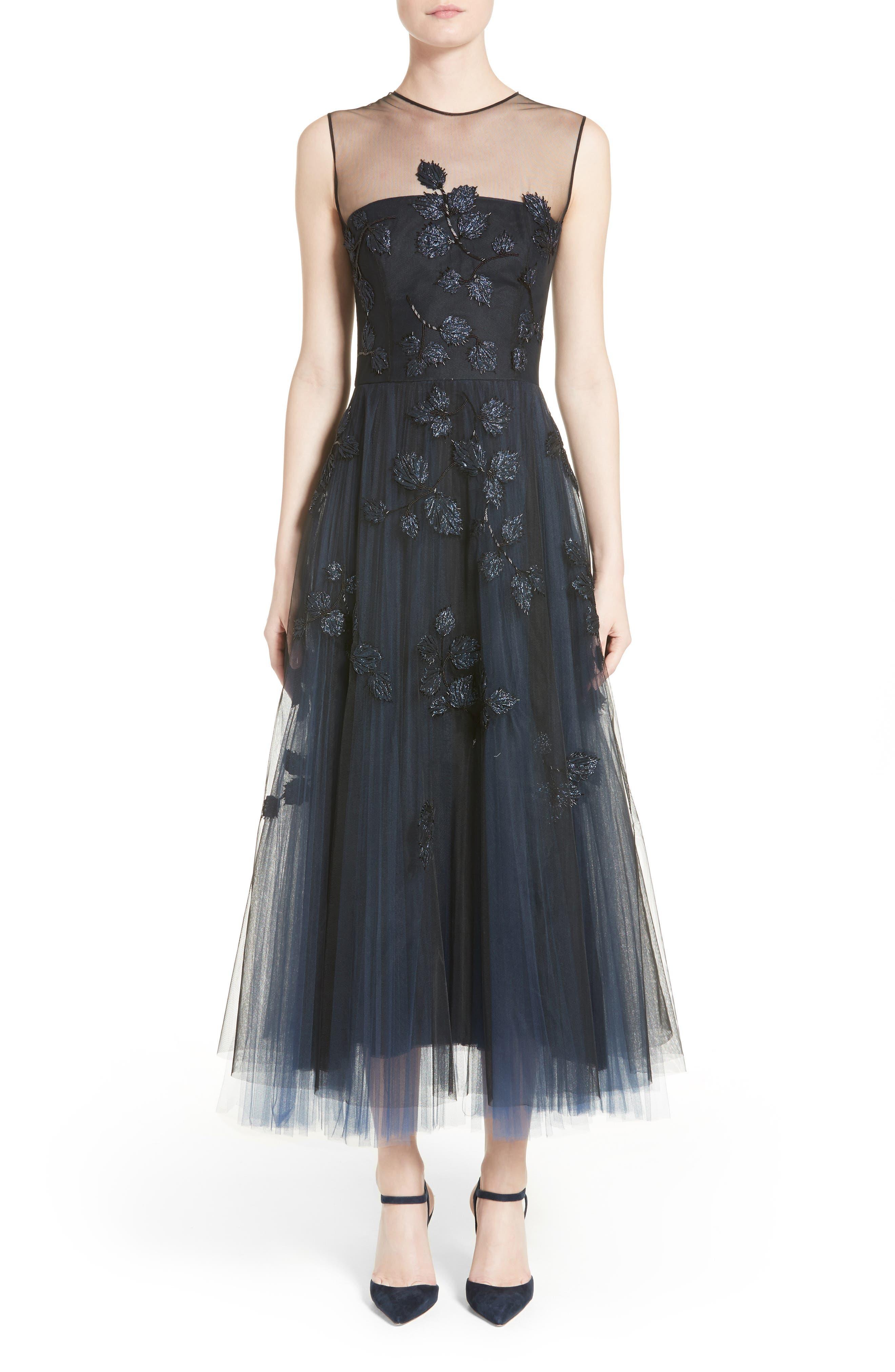 Sequin Leaf Tulle Midi Dress,                             Alternate thumbnail 5, color,                             650