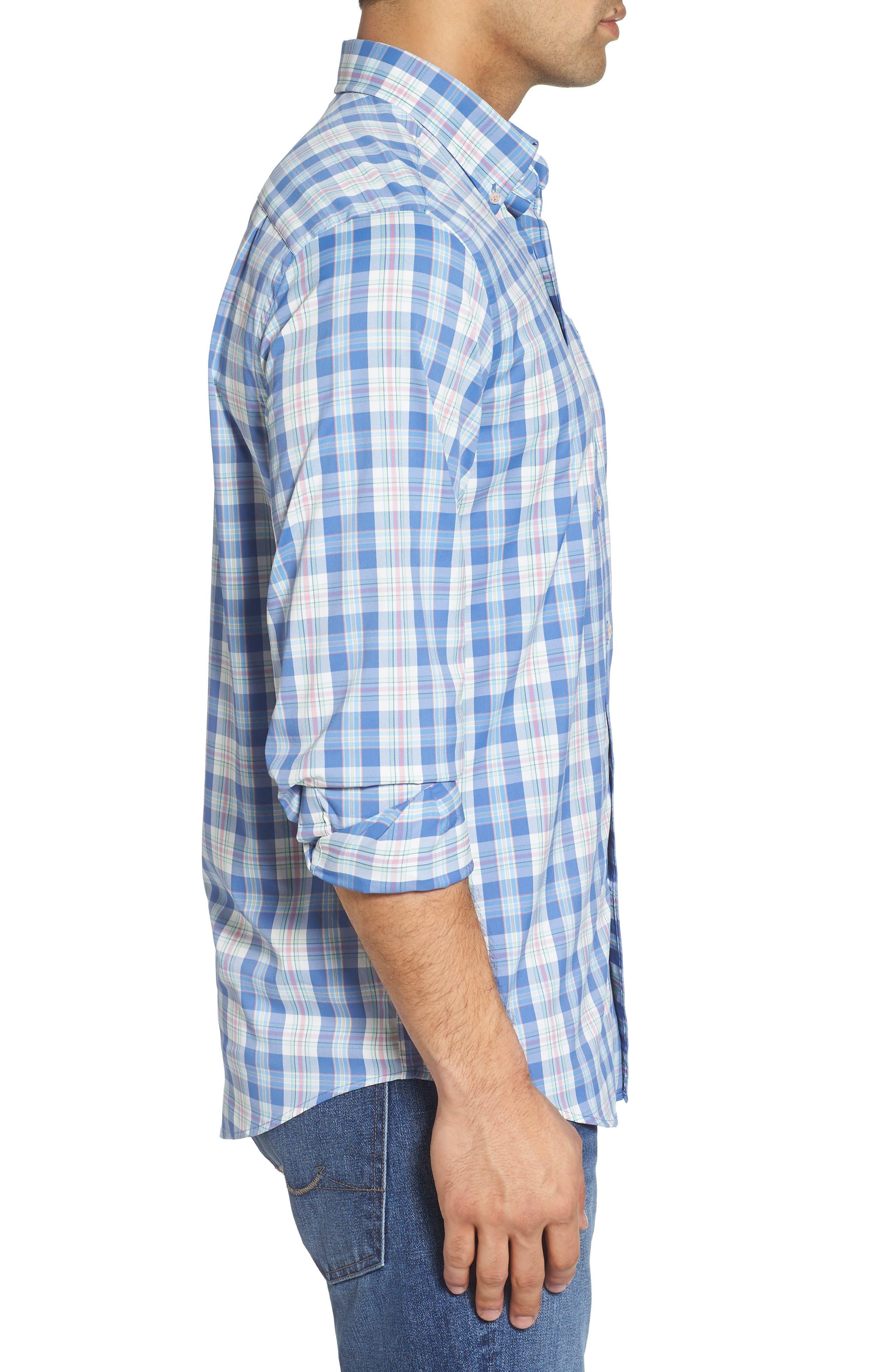 Great Harbor Regular Fit Plaid Stretch Sport Shirt,                             Alternate thumbnail 3, color,                             466
