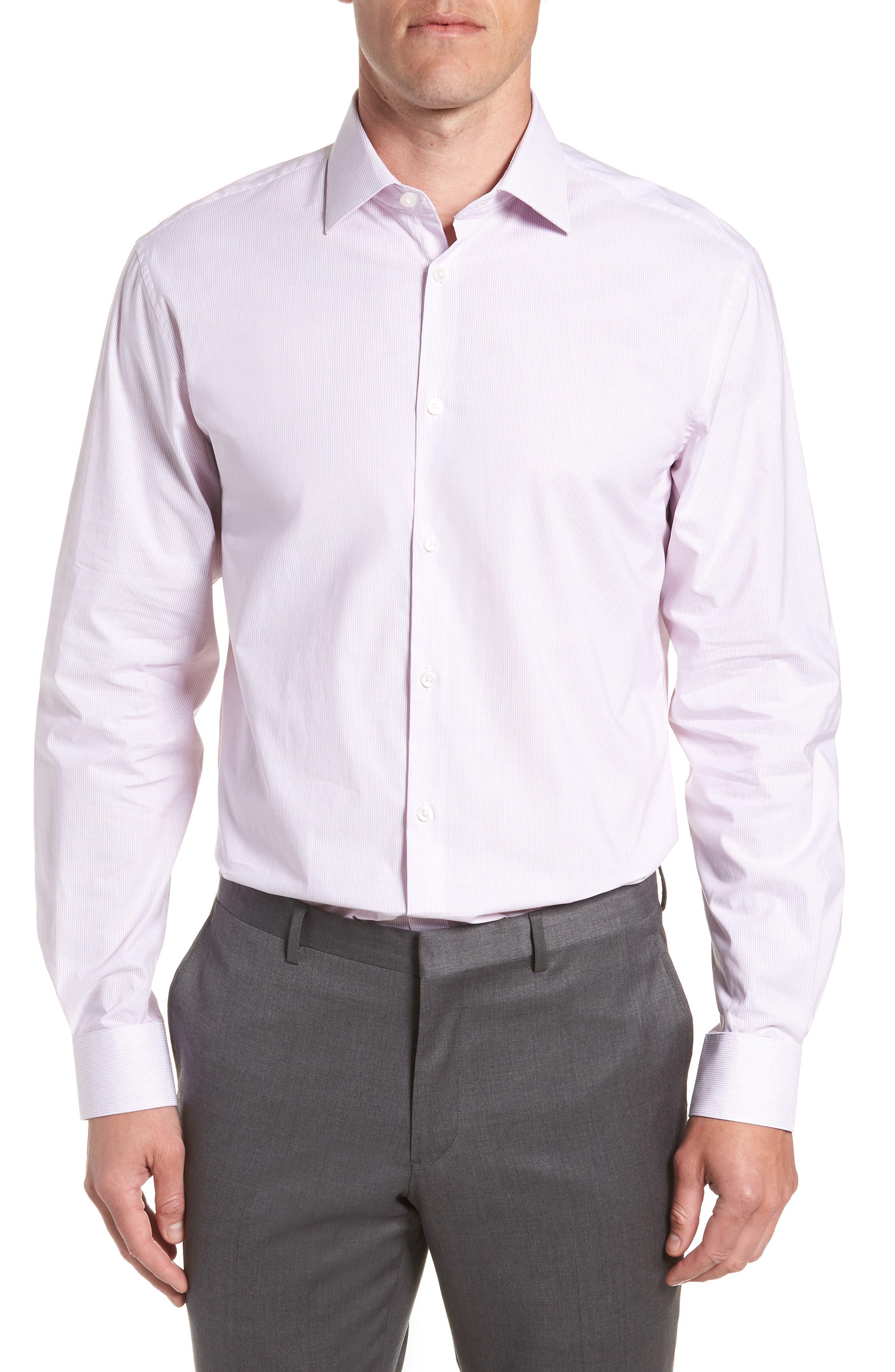 Stripe Regular Fit Dress Shirt,                         Main,                         color, GRAPE