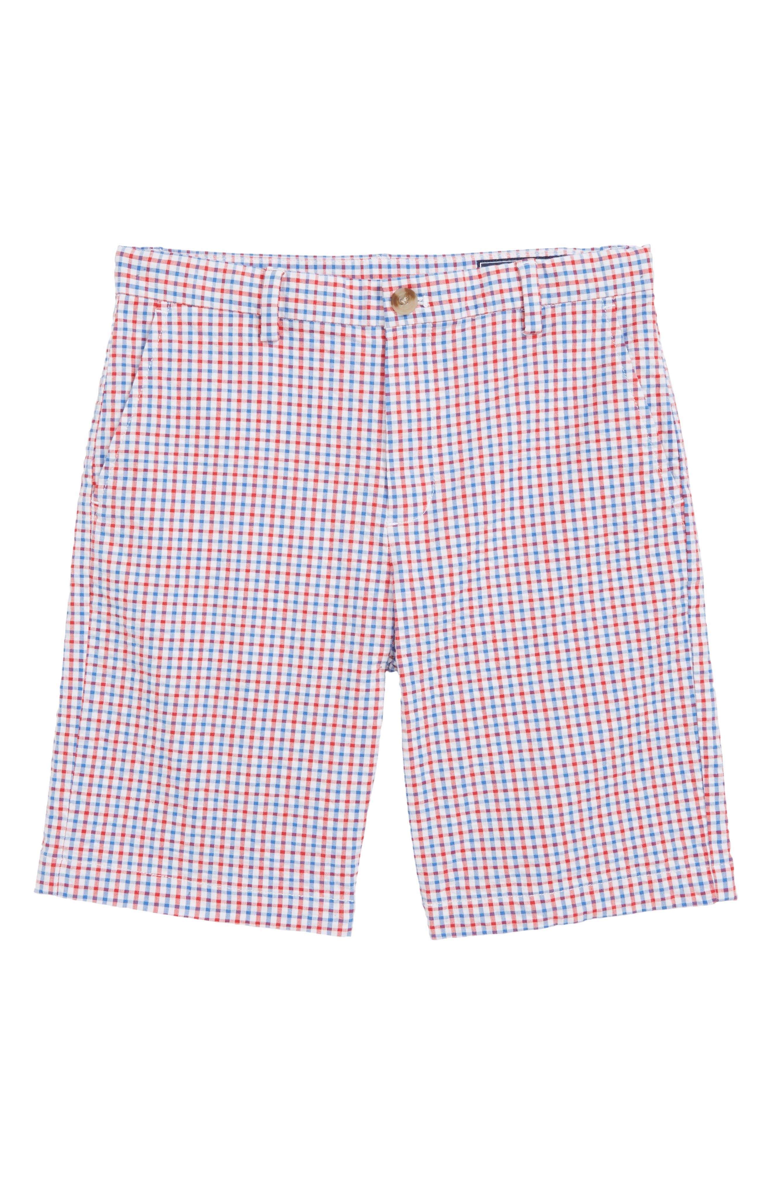 Gingham Seersucker Breaker Shorts,                             Main thumbnail 1, color,                             SPINNAKER