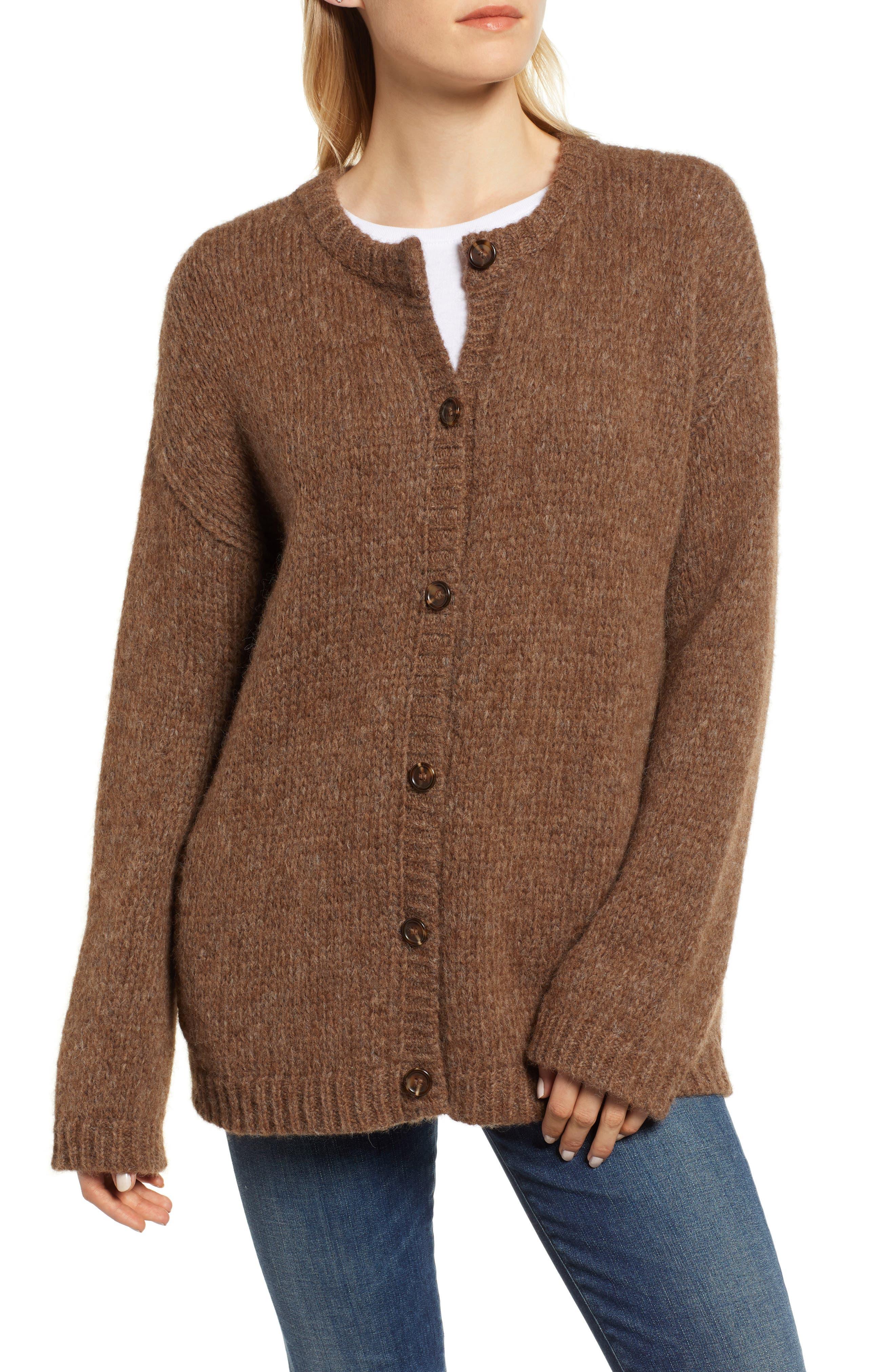 Alpaca Wool Blend Cardigan,                             Alternate thumbnail 4, color,                             CHOCOLATE