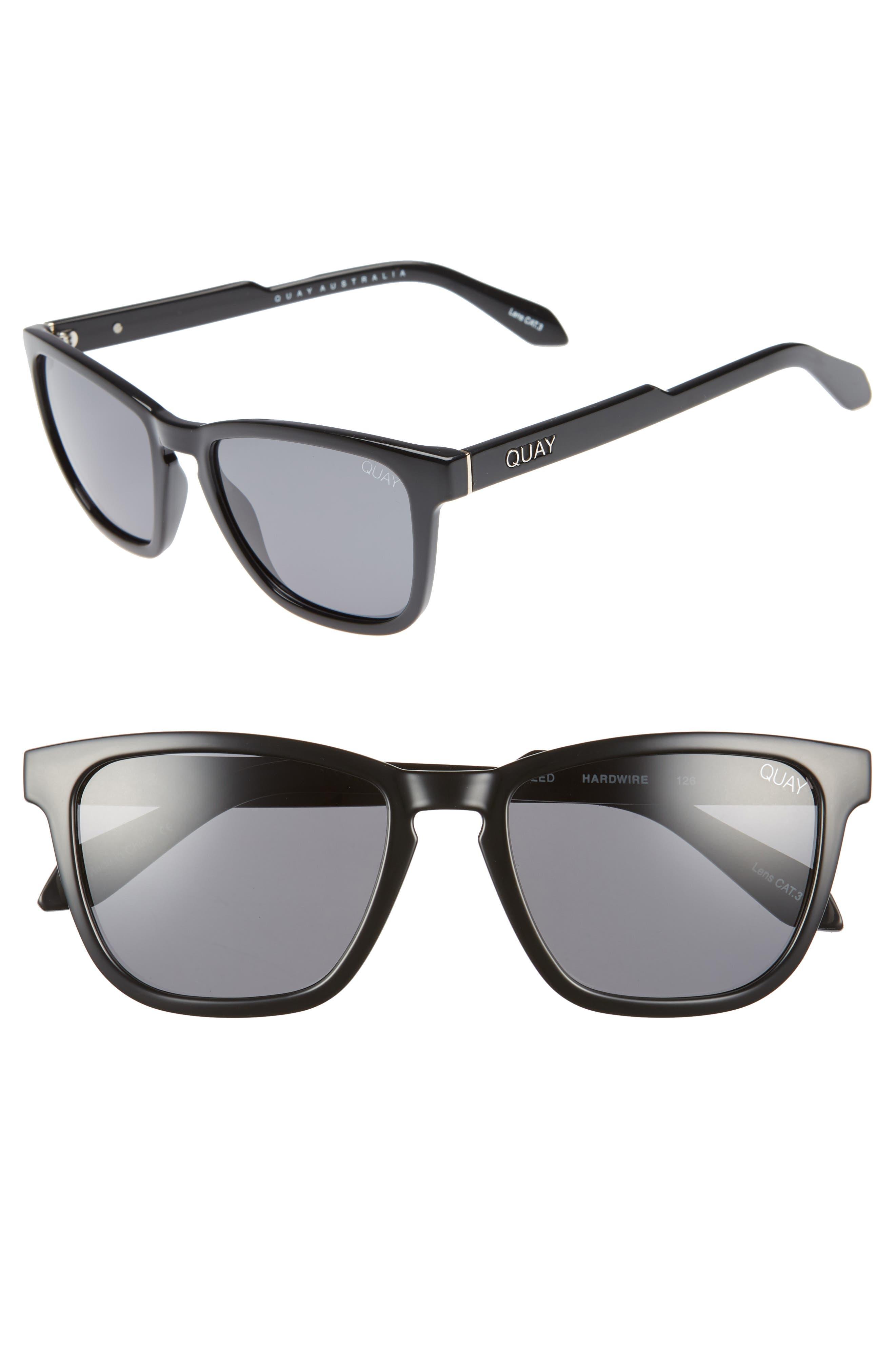 Hardwire 54mm Polarized Sunglasses,                         Main,                         color, BLACK/ SMOKE LENS