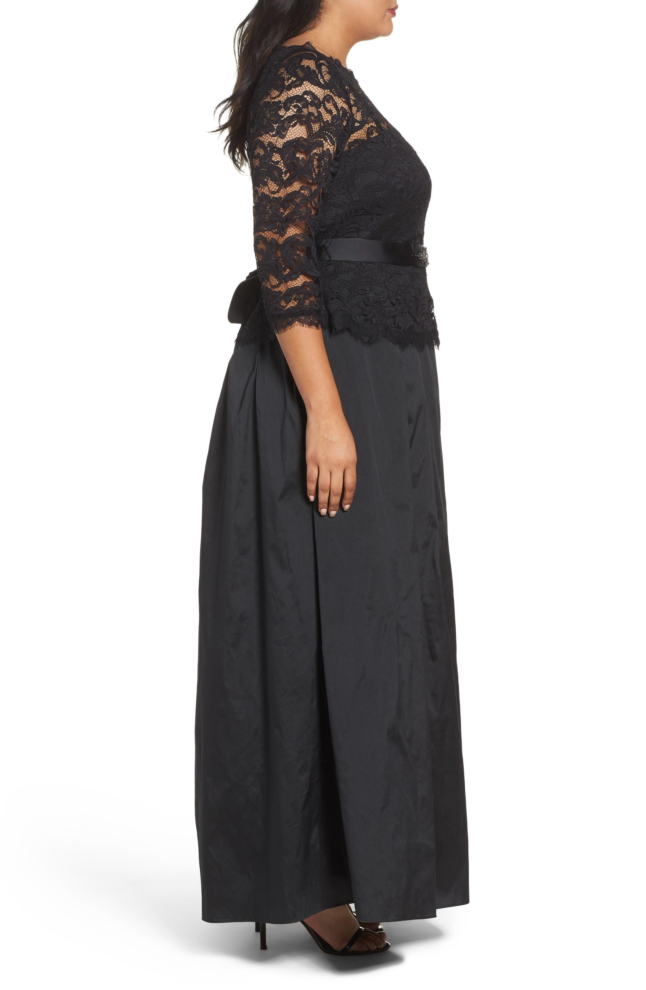 Nouveau Scroll Illusion Lace Gown,                             Alternate thumbnail 3, color,