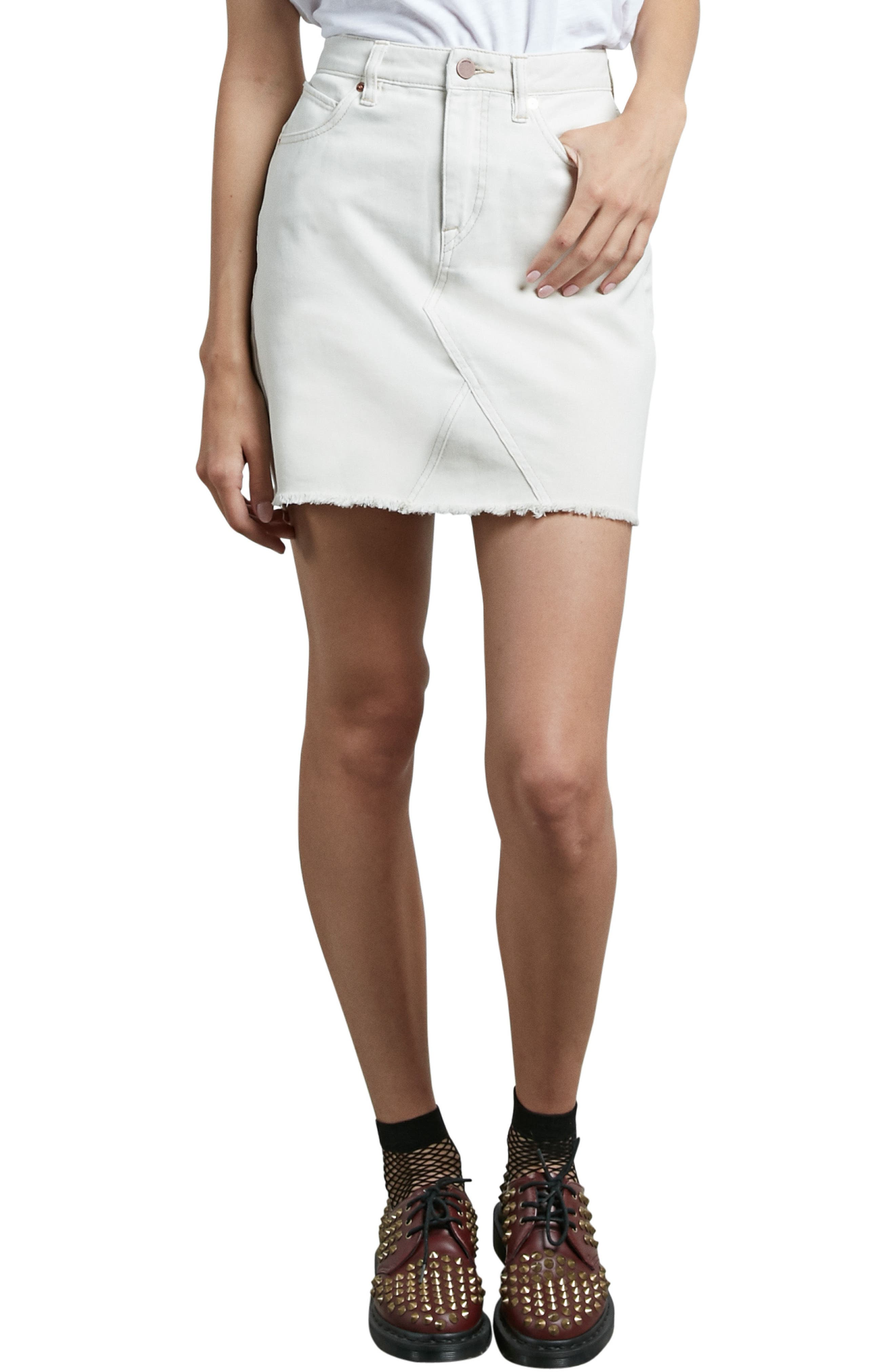 Stone Denim Miniskirt,                             Alternate thumbnail 4, color,                             903