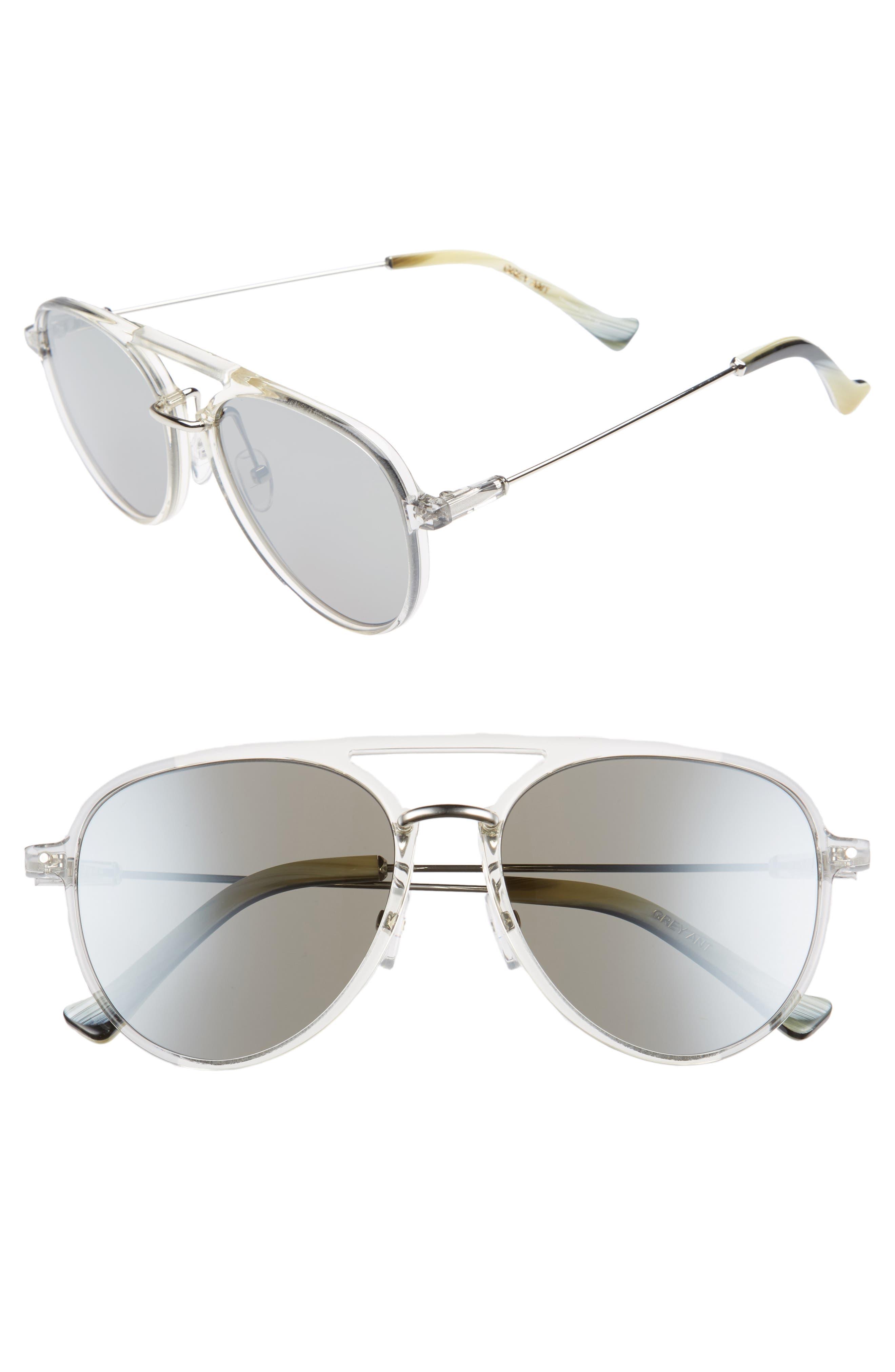 Praph 57mm Sunglasses,                             Main thumbnail 1, color,                             SILVER LENS/ CLEAR HARDWARE