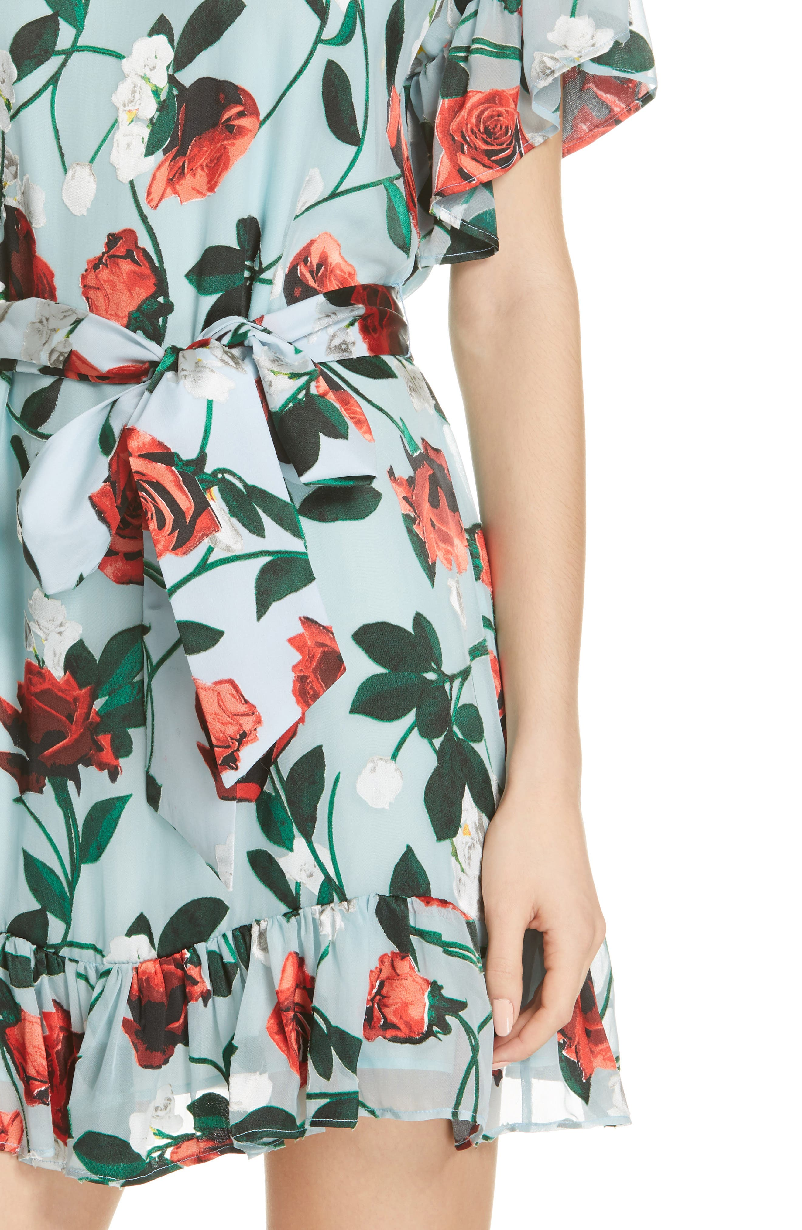 Ellamae Ruffle Sleeve Dress,                             Alternate thumbnail 4, color,                             ROSEBUD FLORAL POWDER BLUE