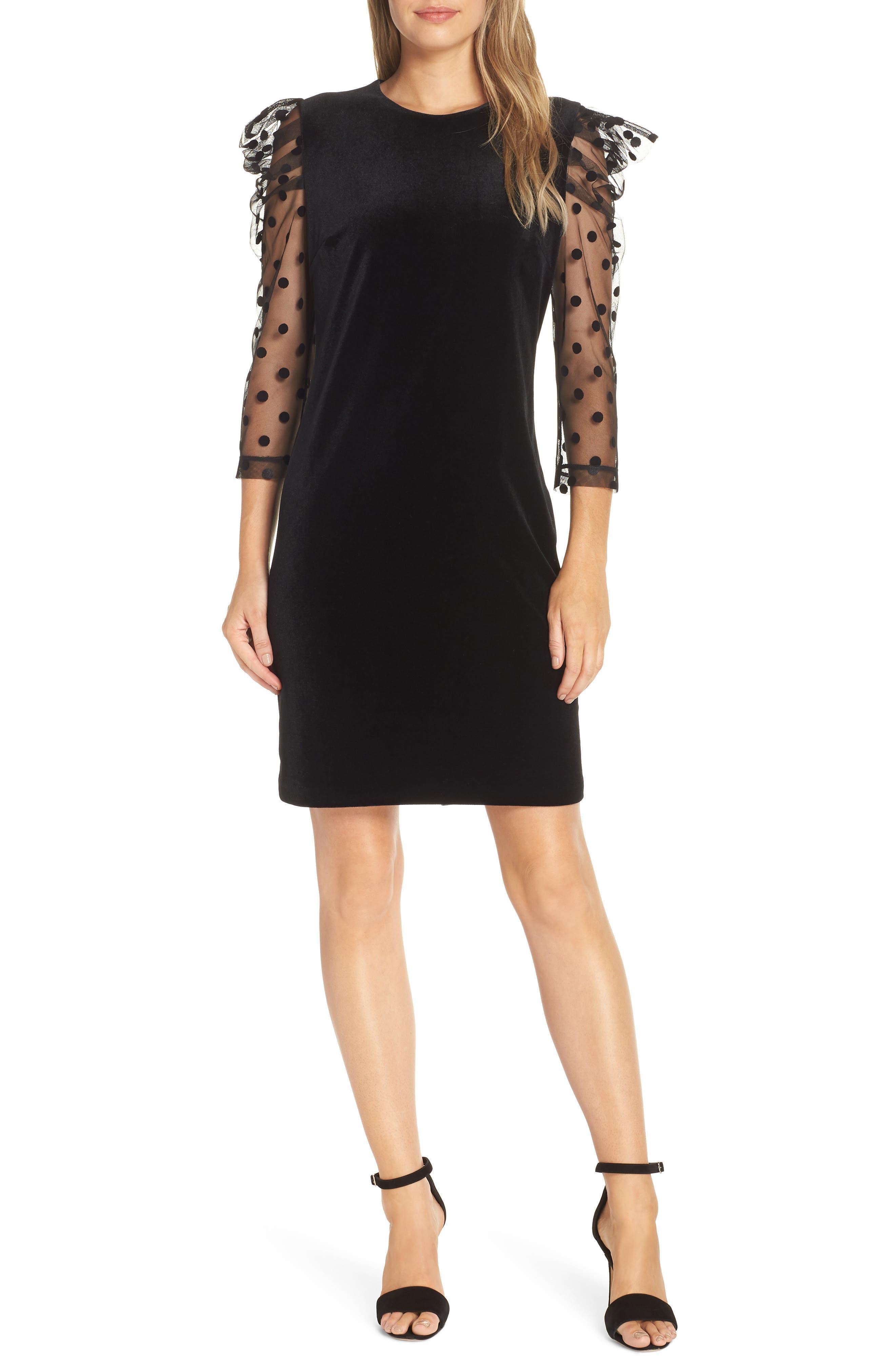 Julia Jordan Dot Mesh Sleeve Velvet Shift Dress, Black