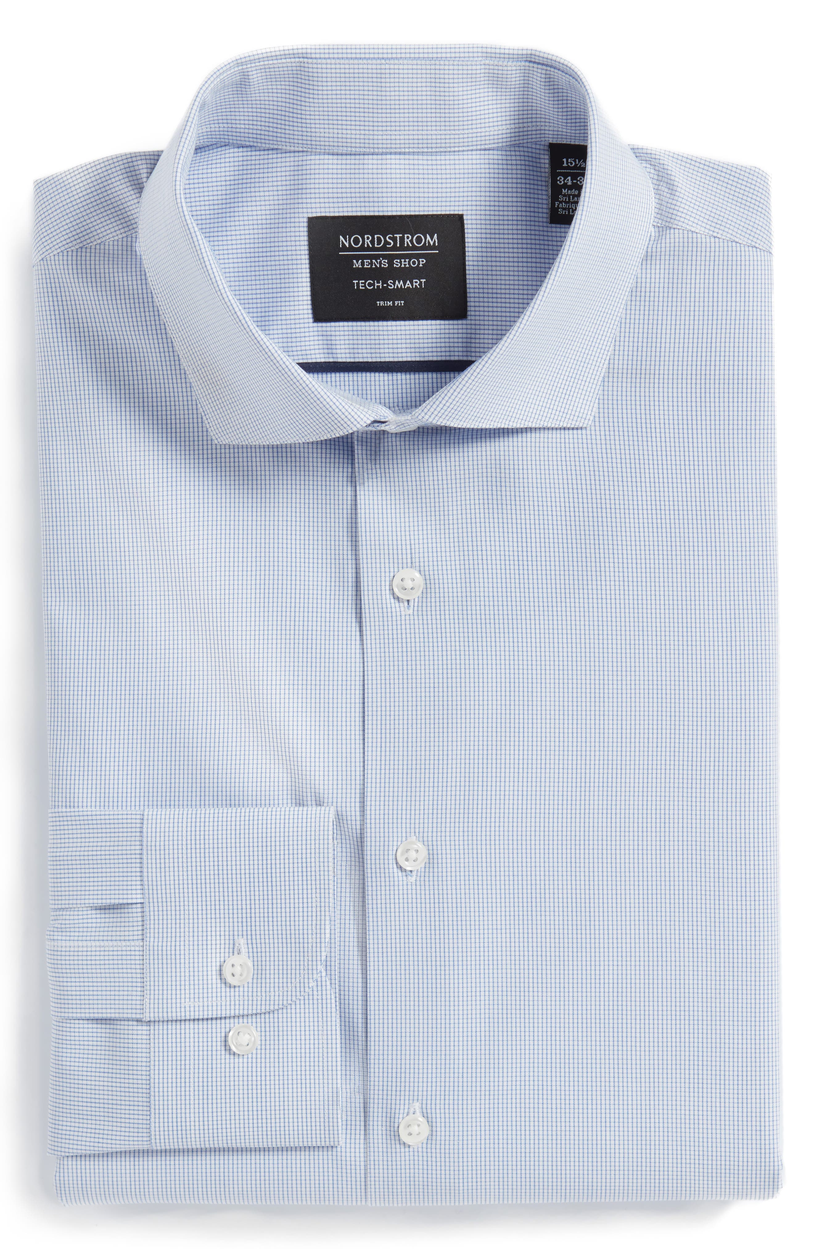 Tech-Smart Trim Fit Stretch Tattersall Dress Shirt,                             Alternate thumbnail 3, color,