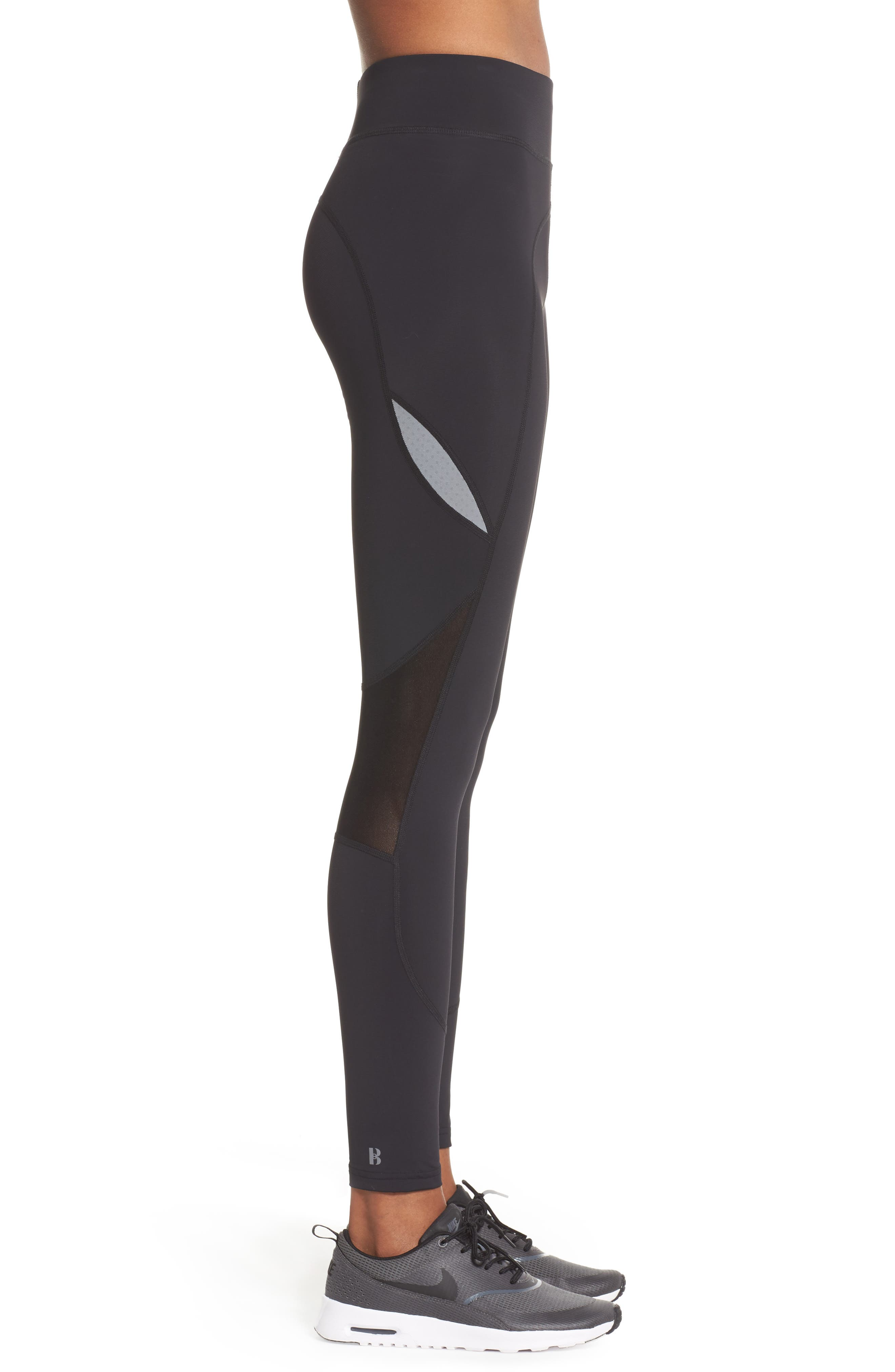 BoomBoom Athletica High Compression Sport Leggings,                             Alternate thumbnail 3, color,                             005